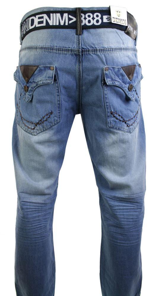 Mens Straight Leg Regular Stonewash Navy Blue Denim Jeans Free Belt Designer
