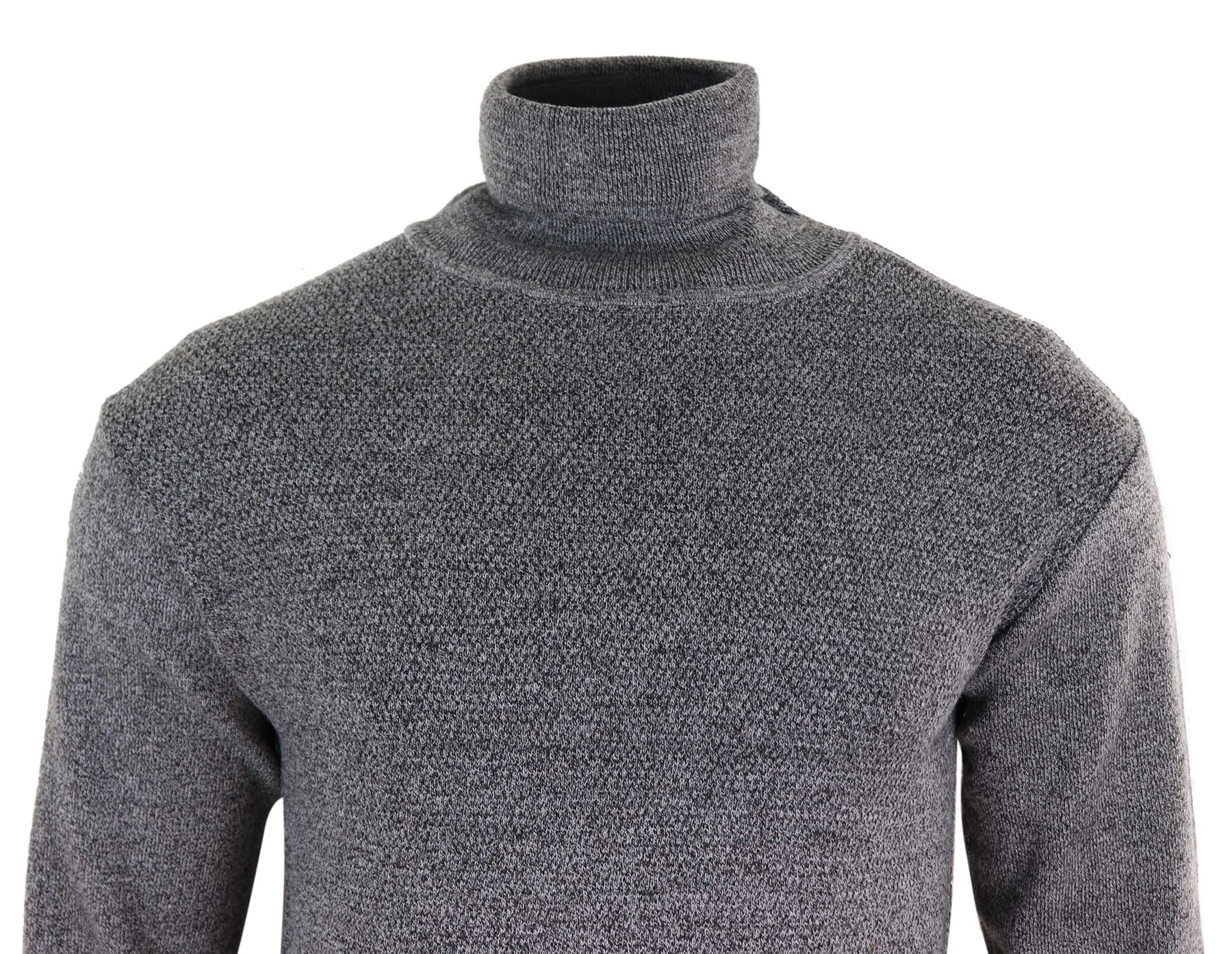 Mens Knitted Turtle Polar Neck Roll Jumper Navy Blue Charcoal Grey Light Weight