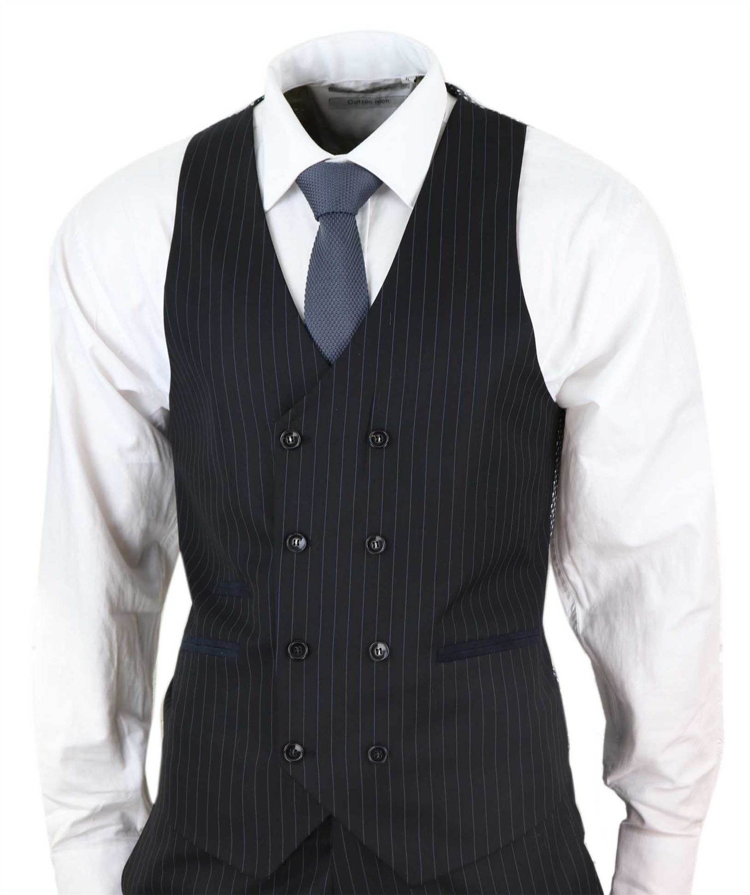Mens 3 Piece Suit Gatsby 1920s Peaky Blinders Mafia Pinstripe Tailored Fit Retro