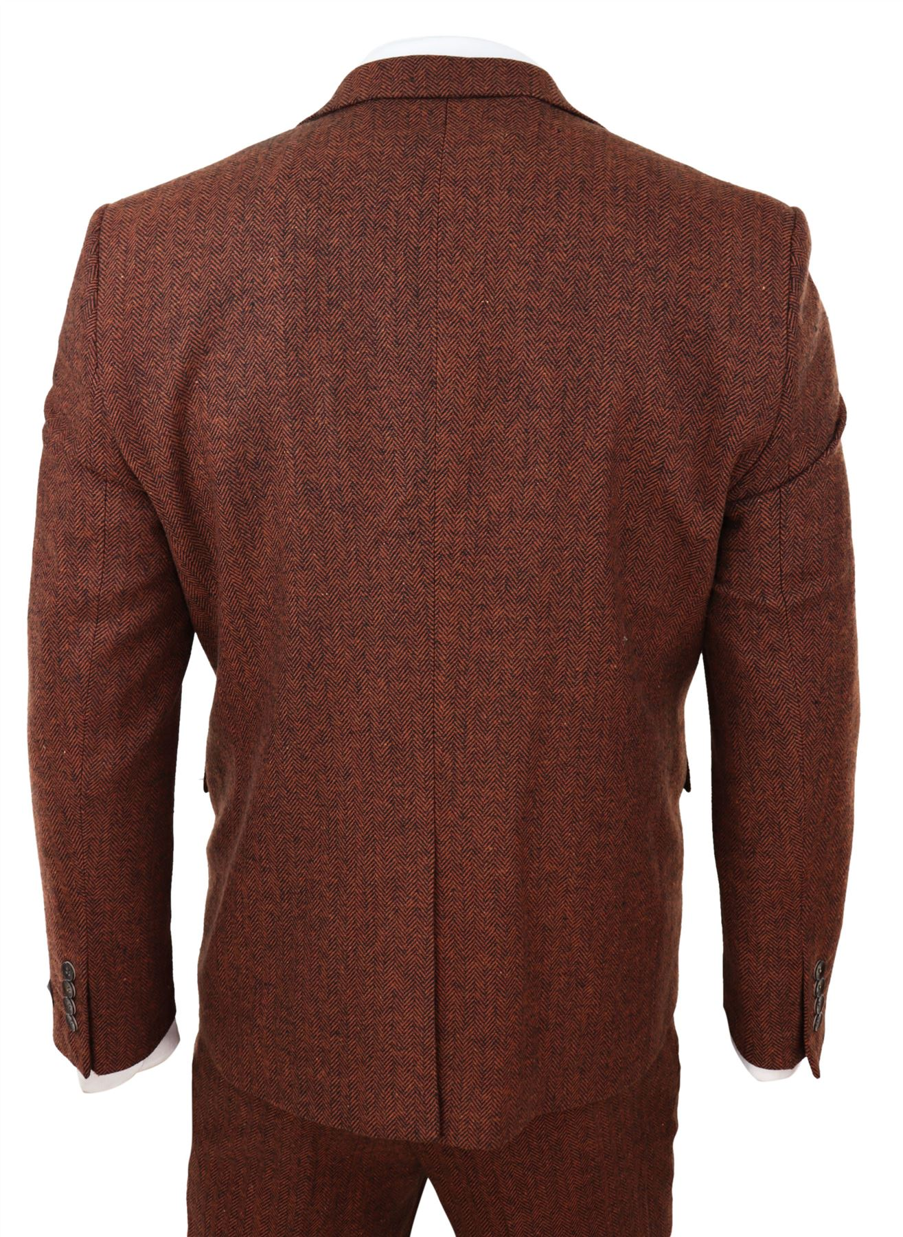 Mens 3 Piece Tweed Suit Herringbone Wool Vintage Retro Peaky Blinders 1920s