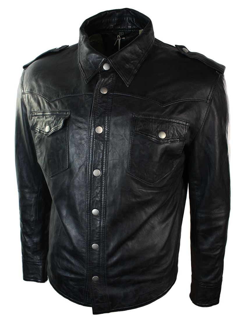 Mens Real Leather Shirt Jacket Tan Brown Black Slim Fit Casual Retro Vintage