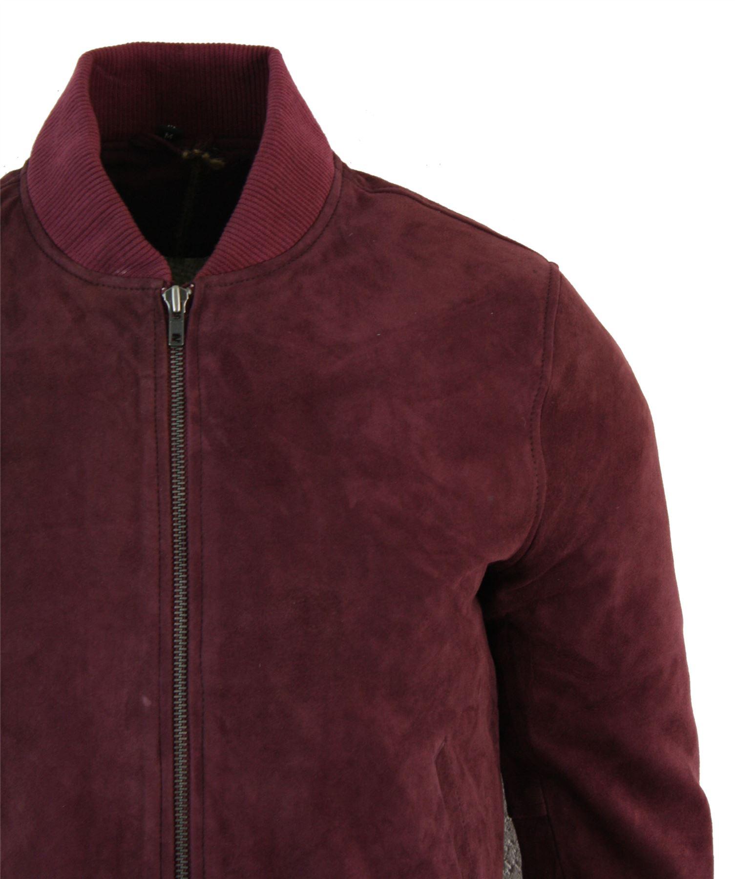 Mens Real Suede Leather Varsity Bomber Jacket Classic Vintage Camel Black