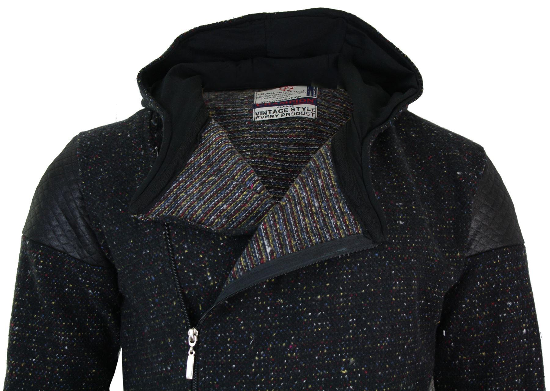 Mens Long Length Cross Zip Longline Jumper Top Cardigan Jacket Slim Fit Hooded