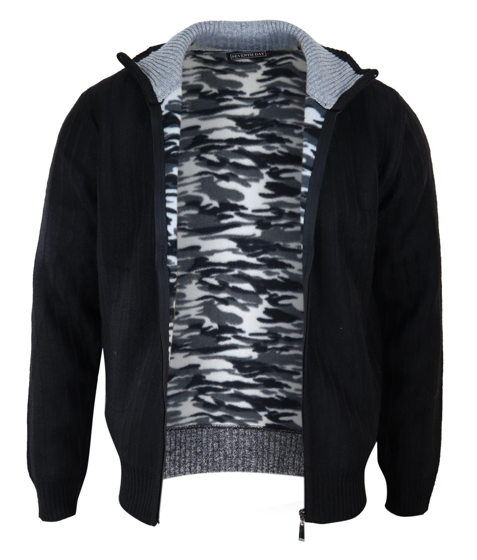 Cardigan da uomo zip completa maglione lavorato a maglia Wooly Caldo Foderato in Pile Polare Smart Casual