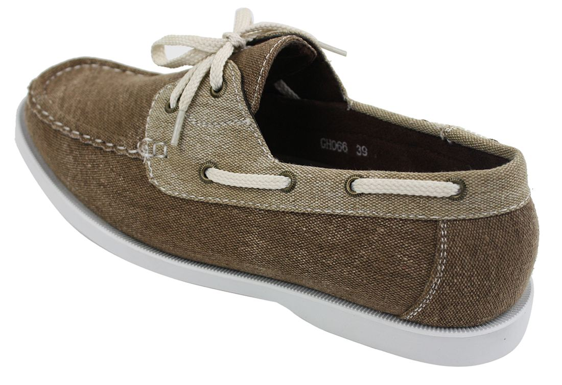 Mens Denim Canvas Retro Laced Moccasin Boat Deck Shoes Washed Navy Beige