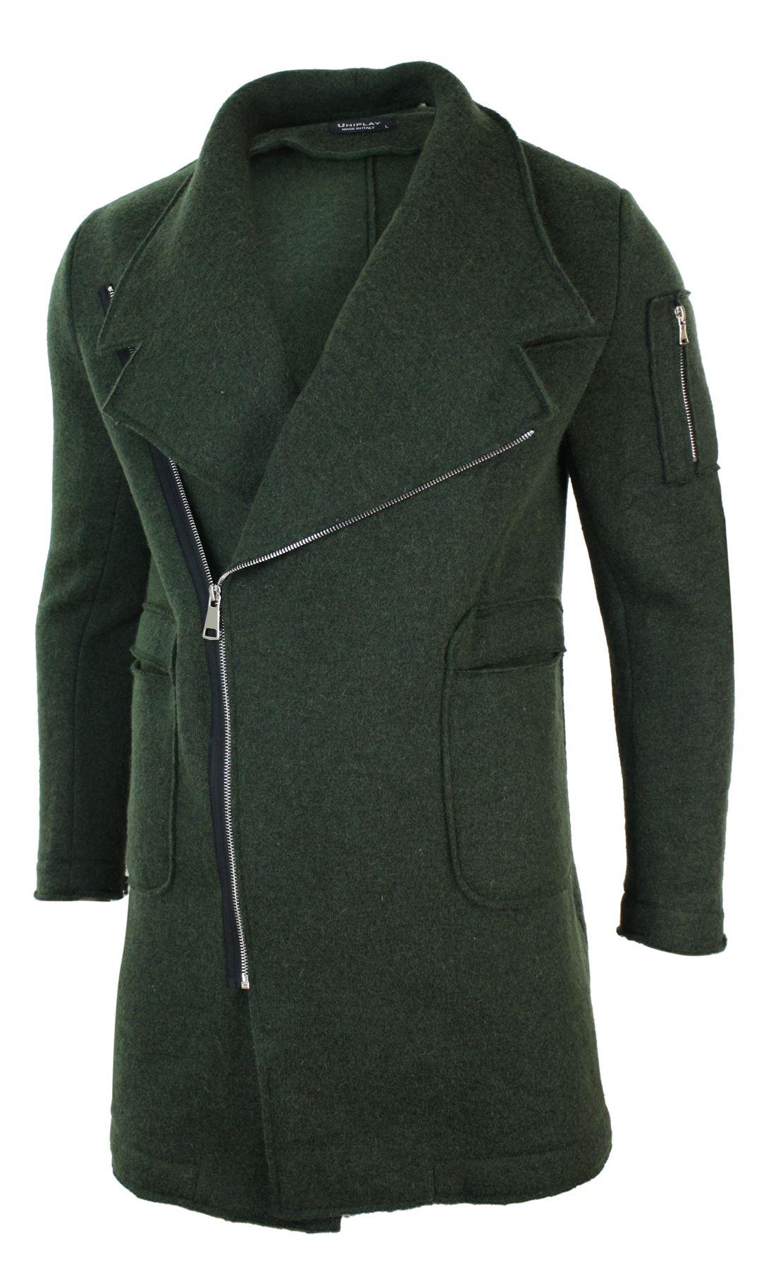 Mens 3//4 Smart Casual Wool Cross Zip Slim Fit Fishtail Italian Coat Jacket Khaki