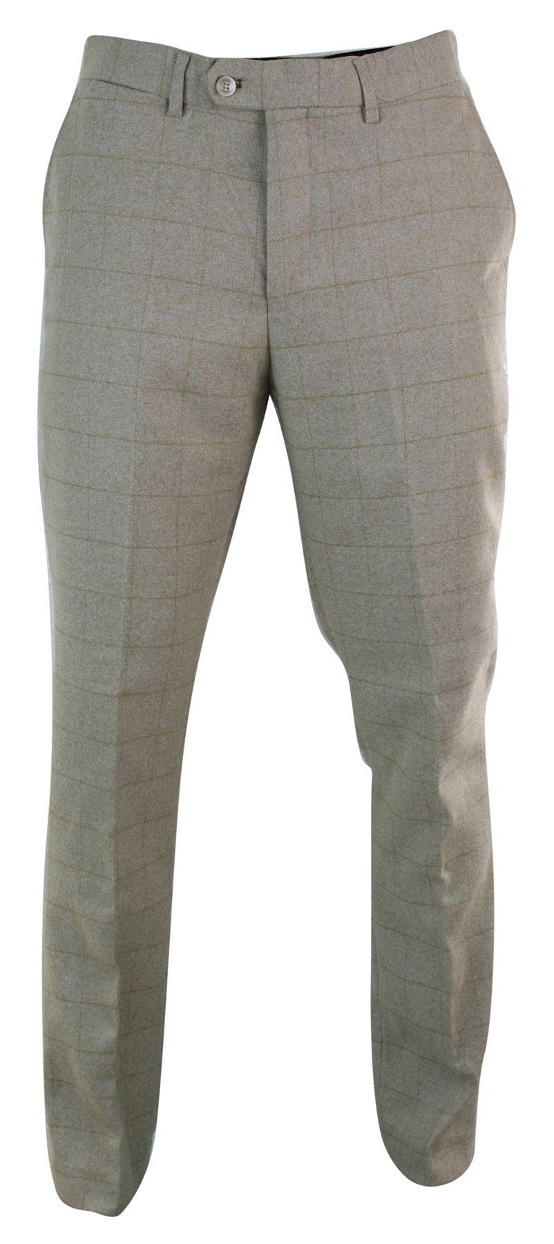 Mens Tweed Check Herringbone Peaky Blinders Trousers Tailored Fit Regular Retro