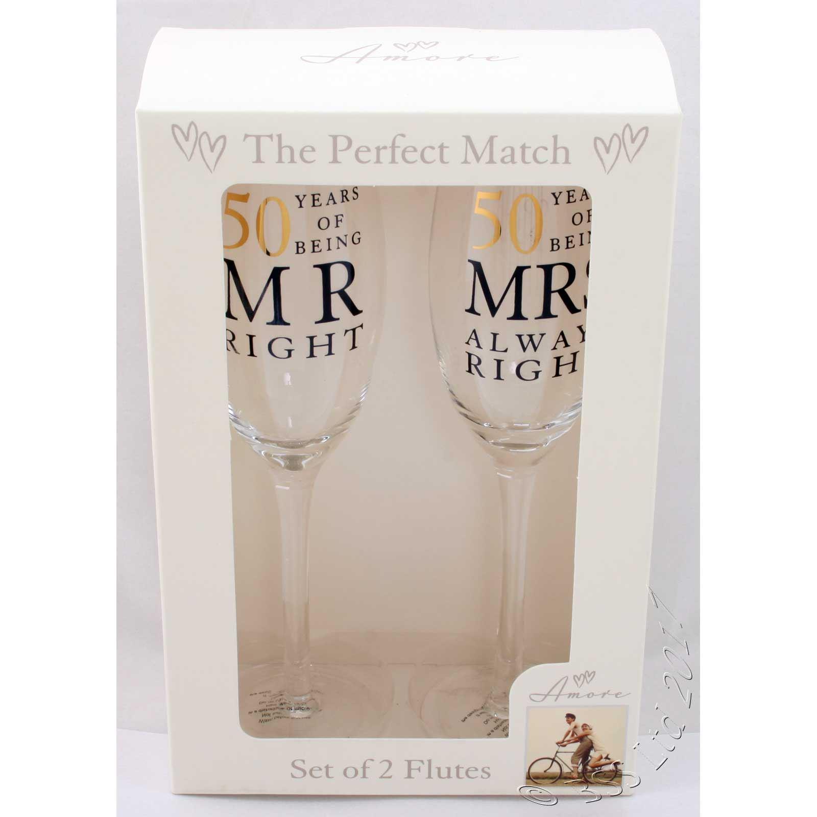 50th Mr /& Mrs Right Anniversary Glass Gift Set 10th 60th 30th 25th 40th
