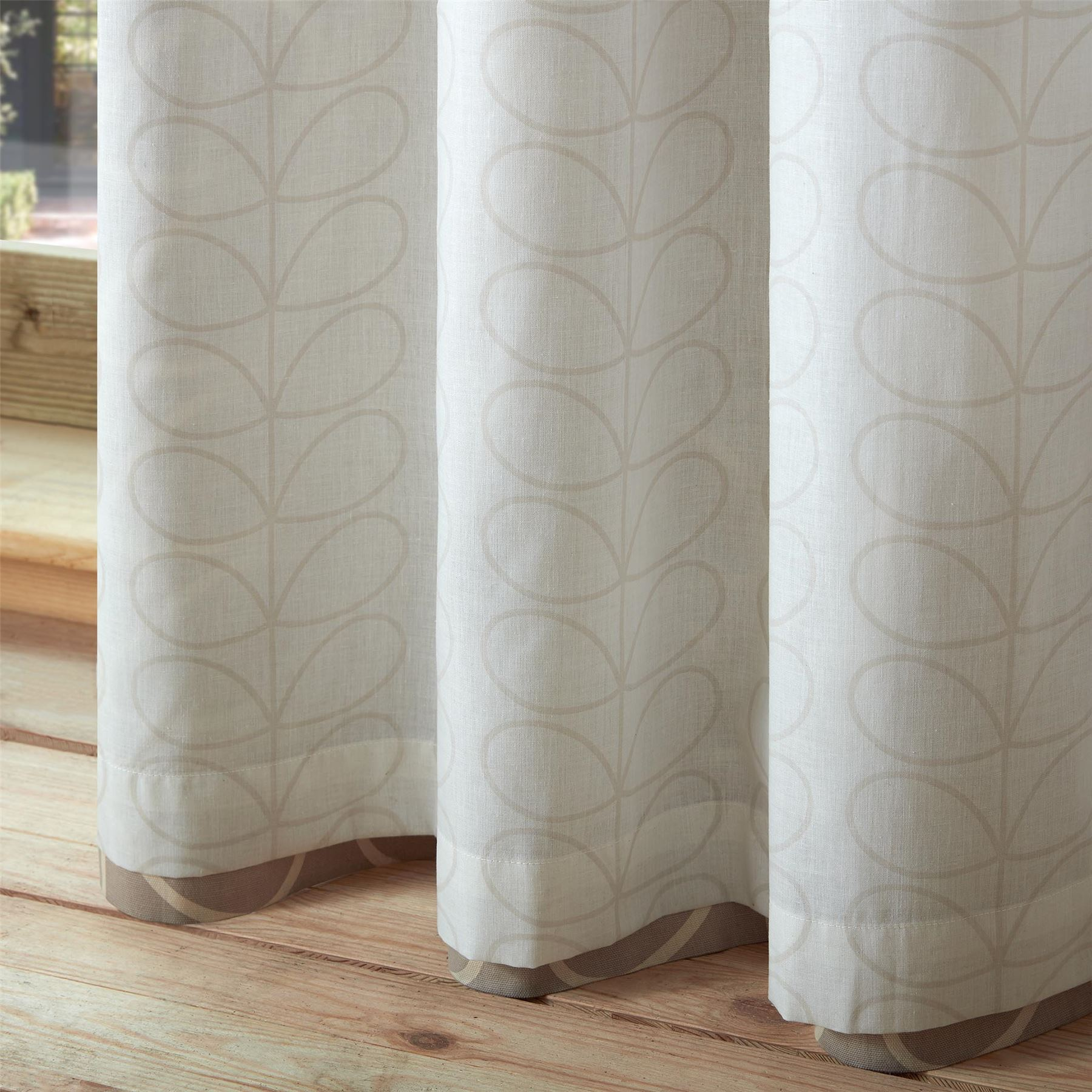 ORLA KIELY LINEAR LEAF STEM LATTE BEIGE CREAM LINED RING TOP CURTAINS *8 SIZES*