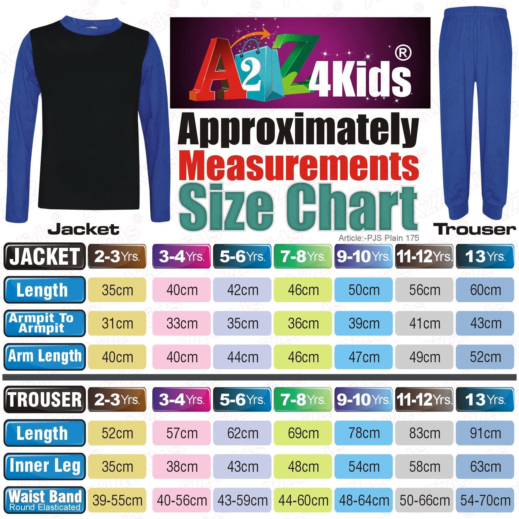 Kids Girls Boys Pjs Contrast Royal Blue Color Plain Stylish Pyjamas Set 2-13 Yr