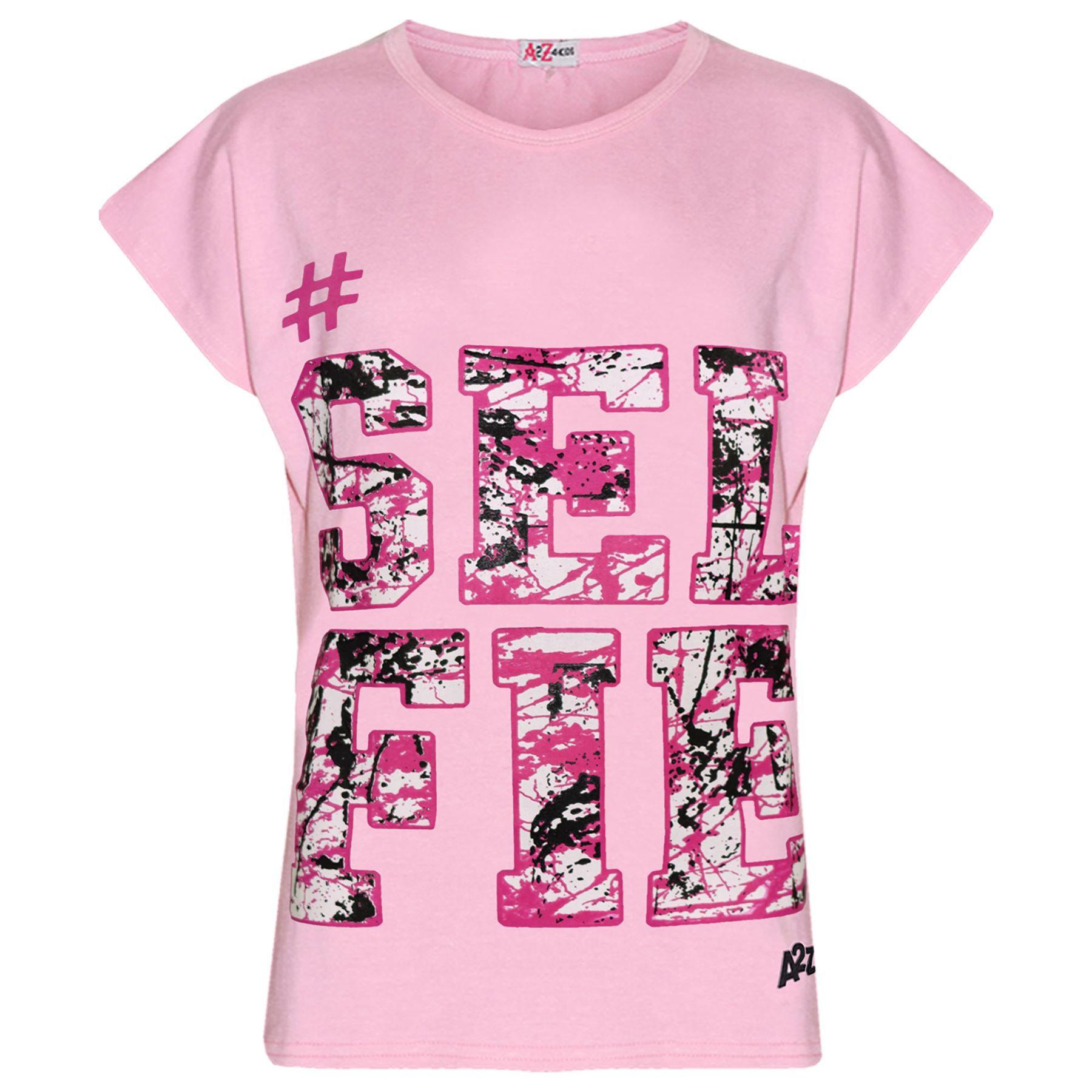 Girls Tops Kids #SELFIE Print T Shirt Top /& Fashion Splash Legging Set 7-13 Year