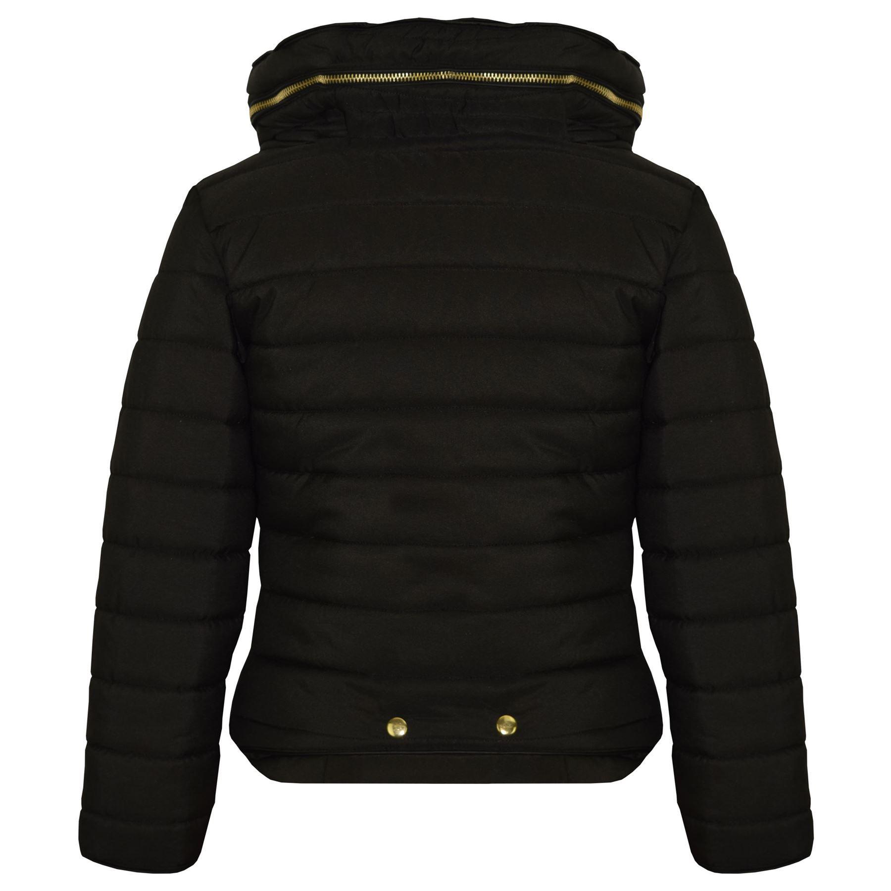 Ragazze Bambini Giacca nera imbottita a bolle puffer collo in pelliccia Back To School Cappotti 3-13