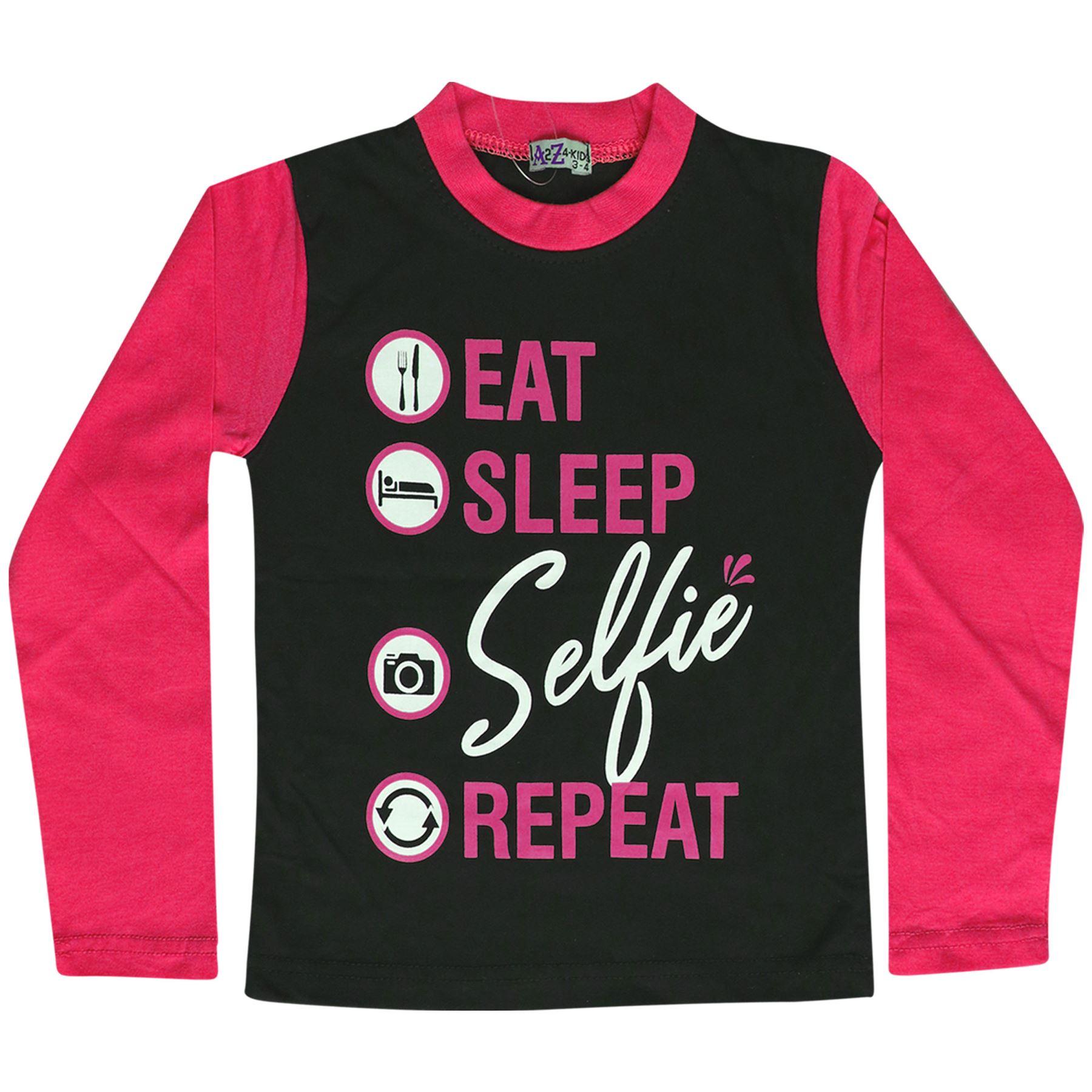 Niños Niñas Pijamas Diseñador Comer Dormir SELFIE repetir Rosa Desgaste Del Salón Pijama 2-13 años
