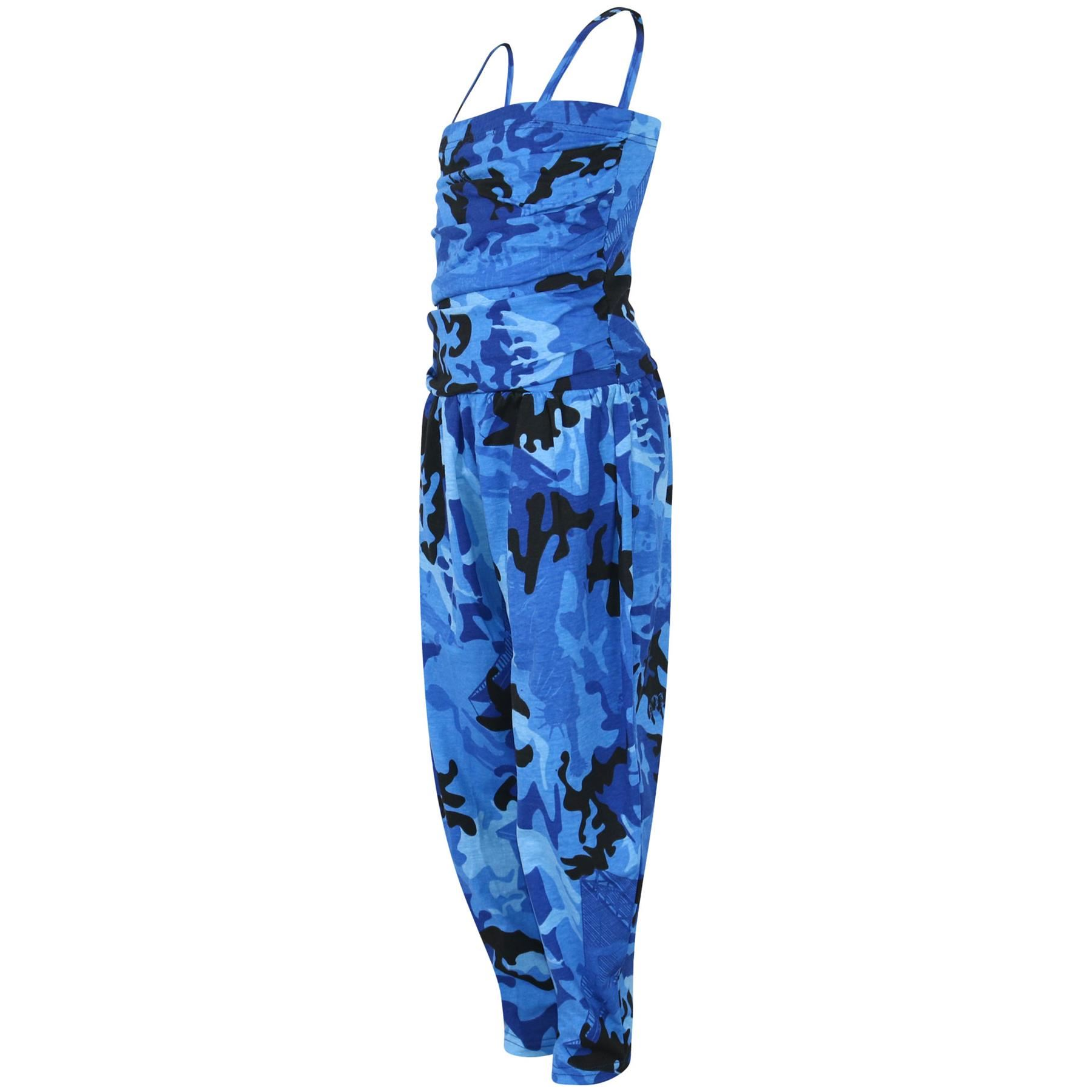 Kids Girls Jumpsuit Camouflage Blue Trendy Fashion All In One Jumpsuits 5-13 Yr