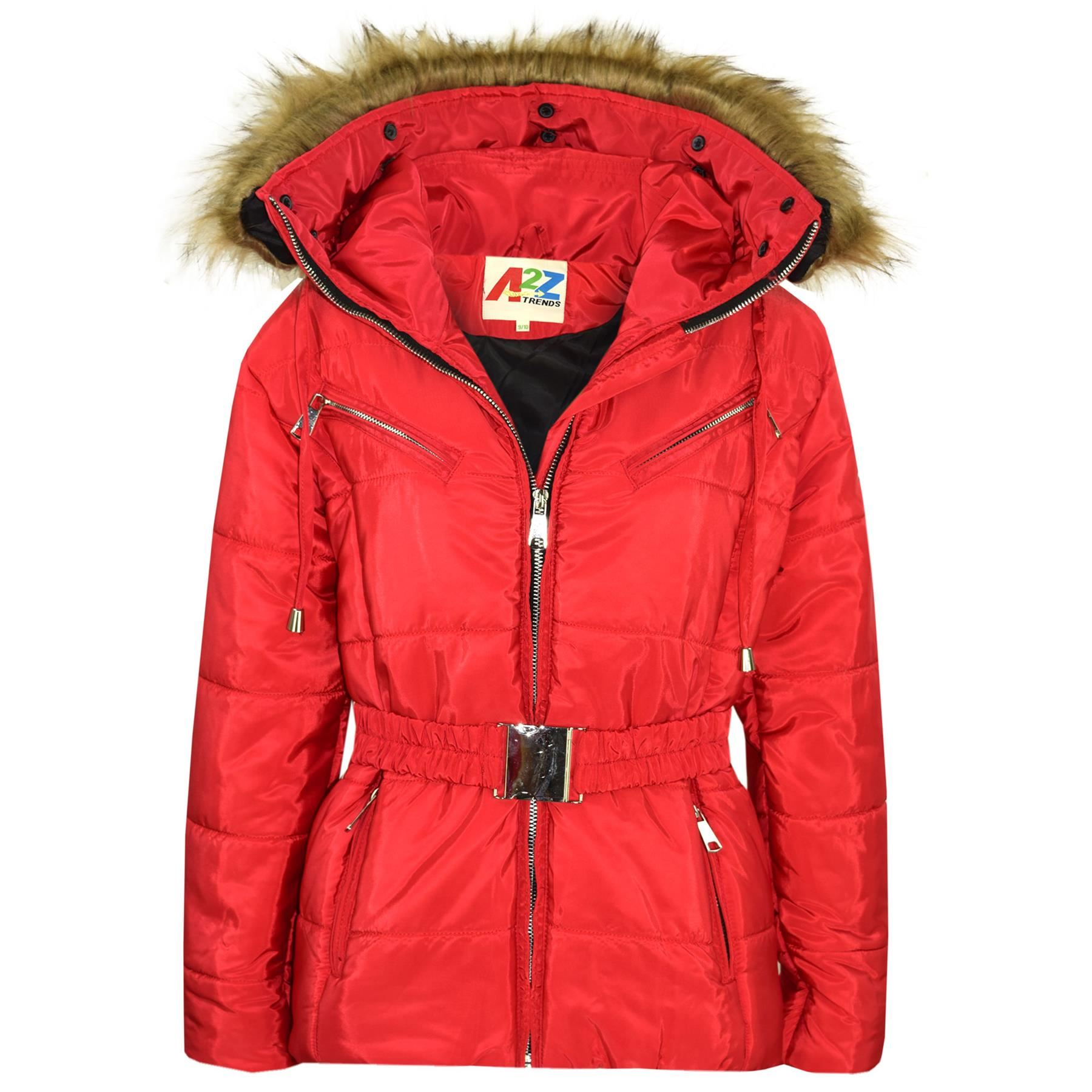 Kids Girls Jacket Puffer Hooded Faux Fur Red Padded Zipped Belted Top Warm Coats