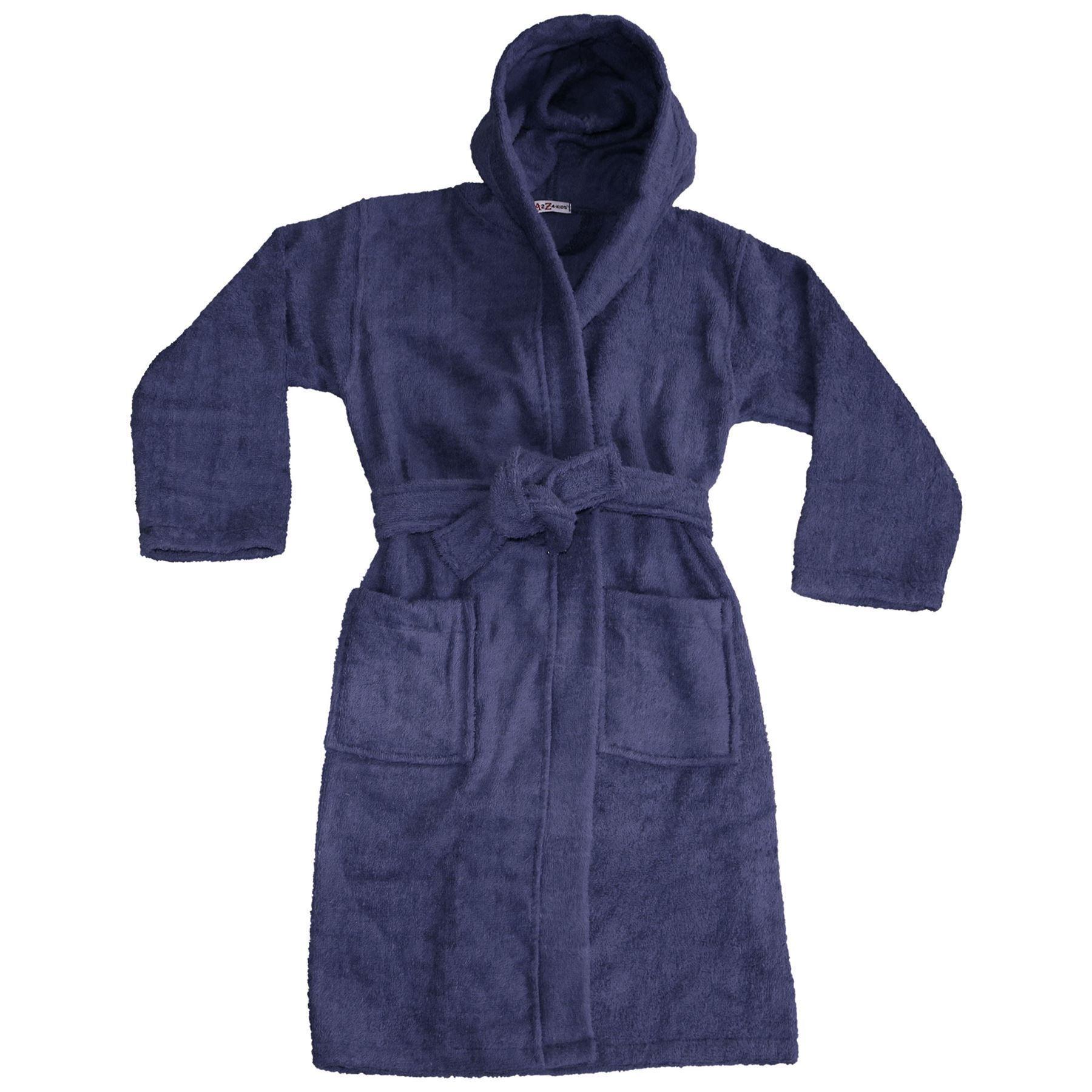 Bambini Ragazzi Ragazze 100/% Cotone Soft Blu Scuro Con Cappuccio Accappatoio Vestaglia di lusso 2-13Y