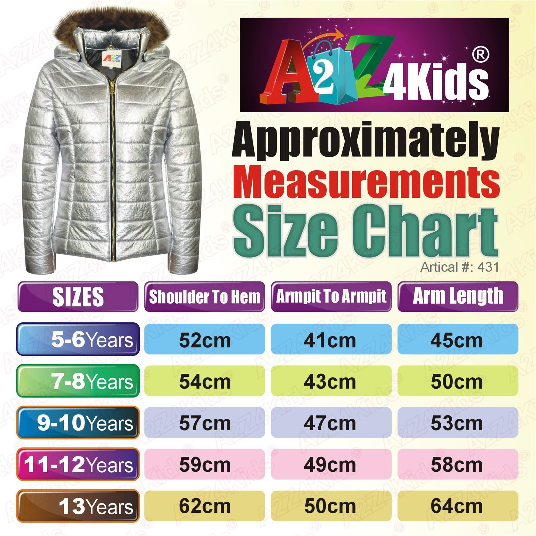 Kids Girls Jackets Metallic Silver Puffer Padded Quilted Hooded Faux Fur Coats