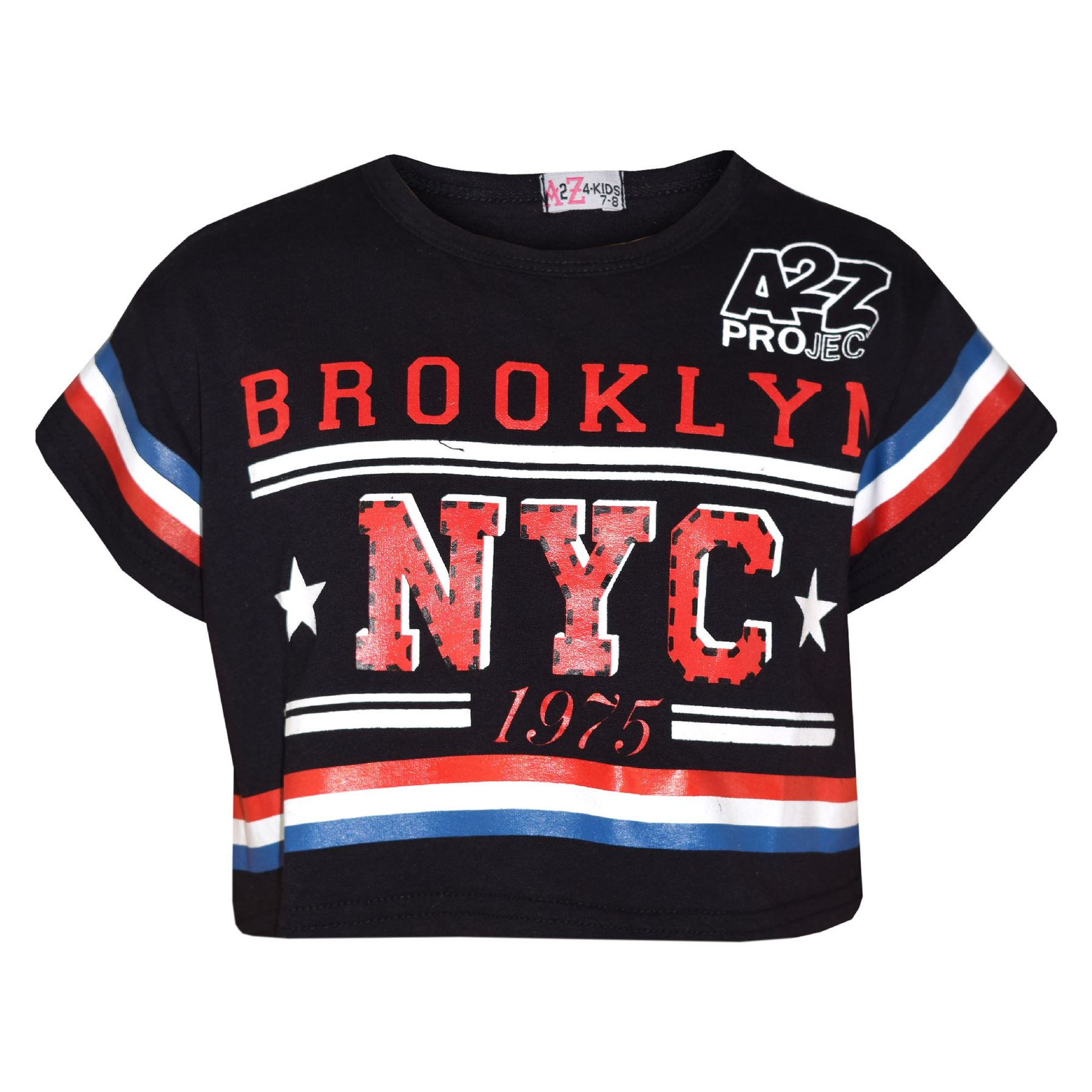 Kids Girls Tops Brooklyn NYC 1975 Stylish Crop Top Legging Lounge Wear Set 5-13Y