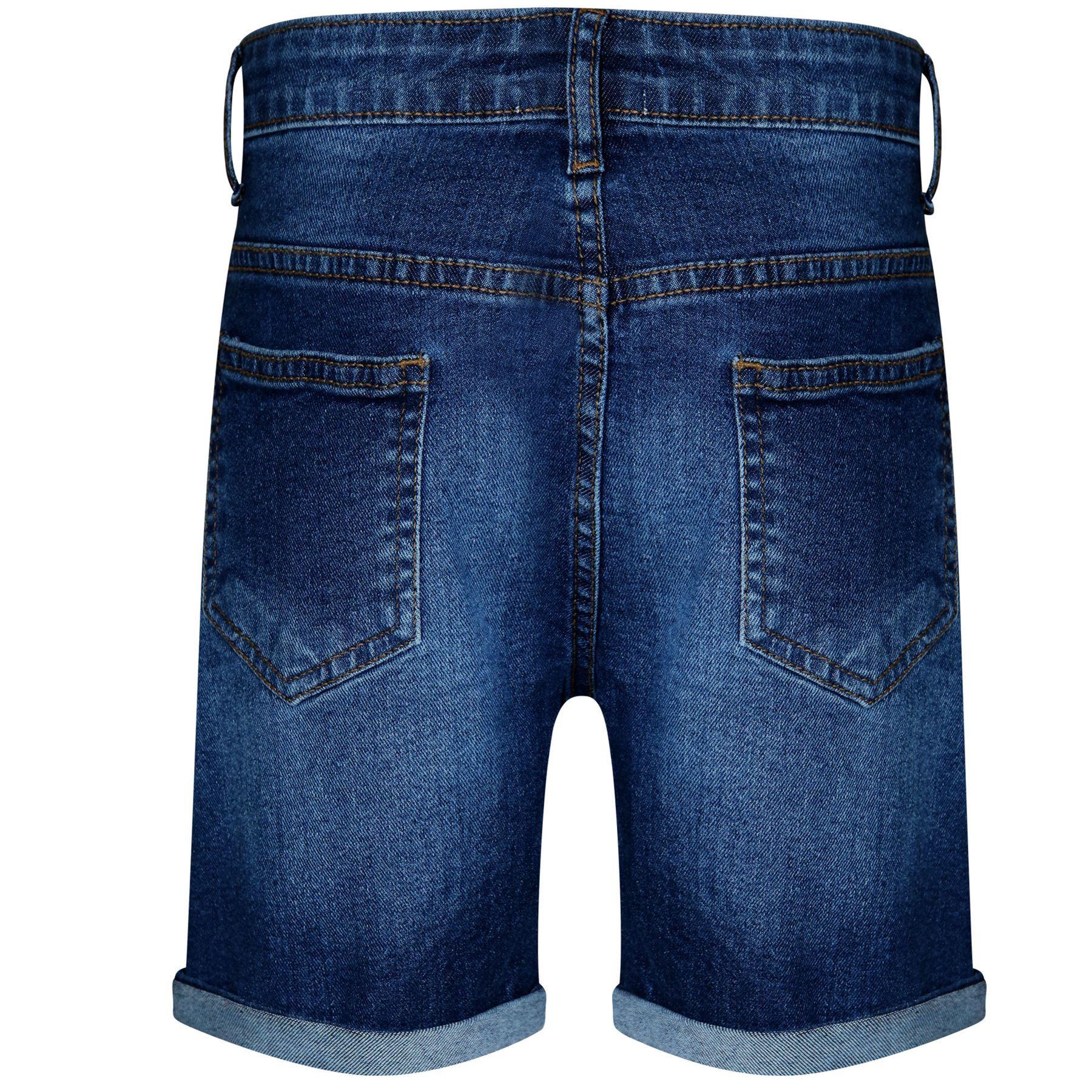Kids Boys Shorts Denim Ripped Dark Blue Chino Bermuda Jean Knee Length Pant 5-13