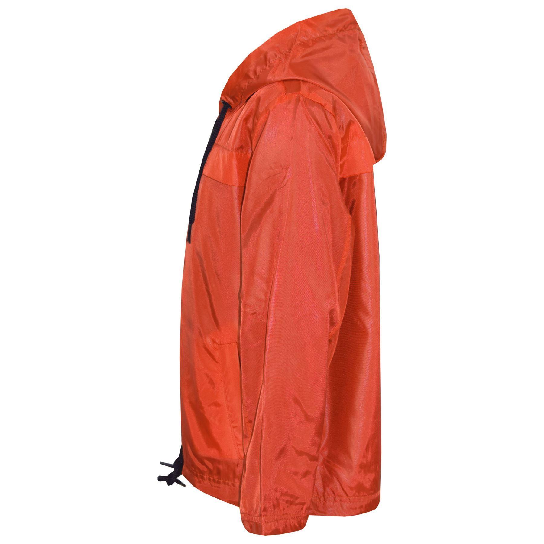 Bambini Ragazzi Ragazze Arancione Con Cappuccio Impermeabili Antivento Leggero Giacca Pioggia MAC 5-13