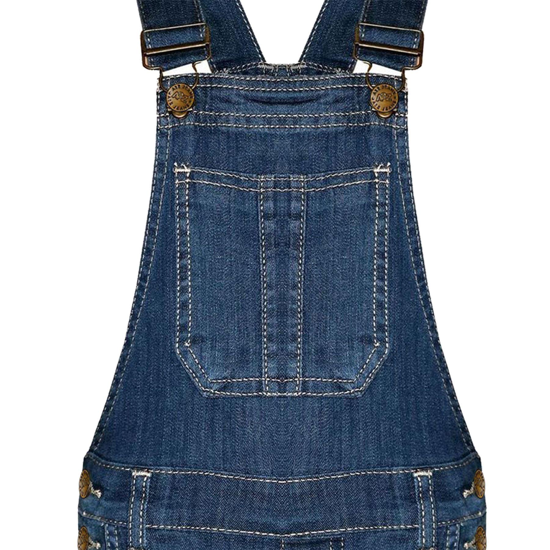 Kids Girls Dungaree Shorts Dark Blue Denim Stretch Jumpsuit Playsuits 5-13 Years