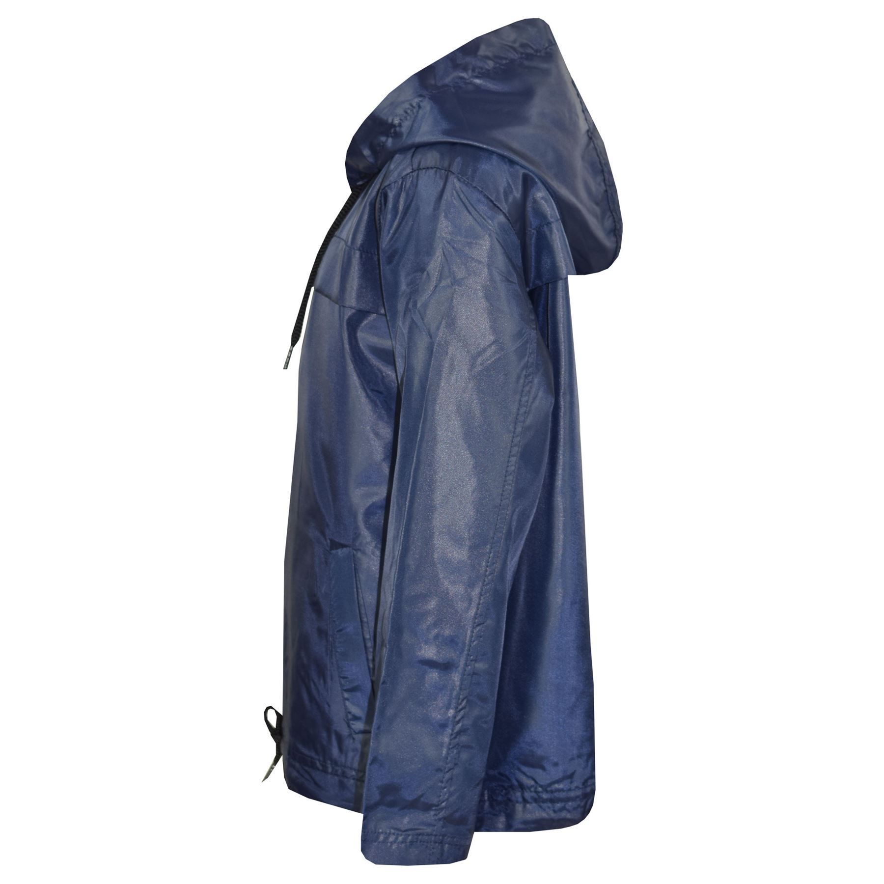 Kids Girls Boys Navy Hooded Raincoats Cagoule Lightweight Jacket Rain Mac 5-13 Y