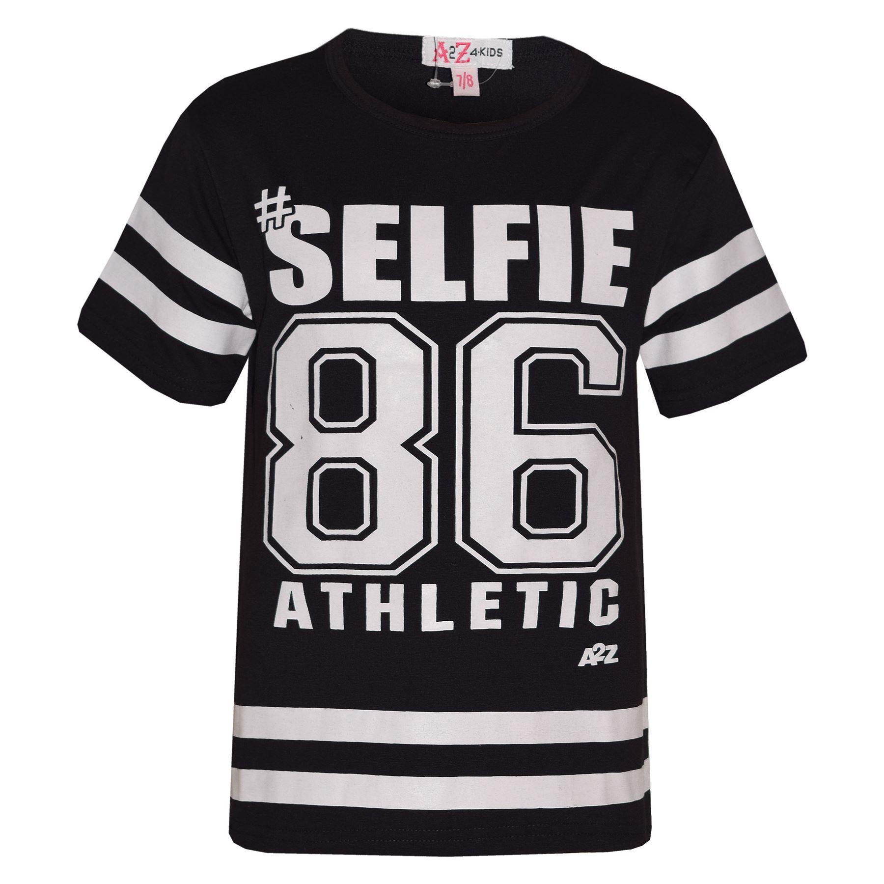 Girls Top Kids Designer/'s #Selfie 86 Athletic T Shirt Top /& Legging Set 7-13 Yr