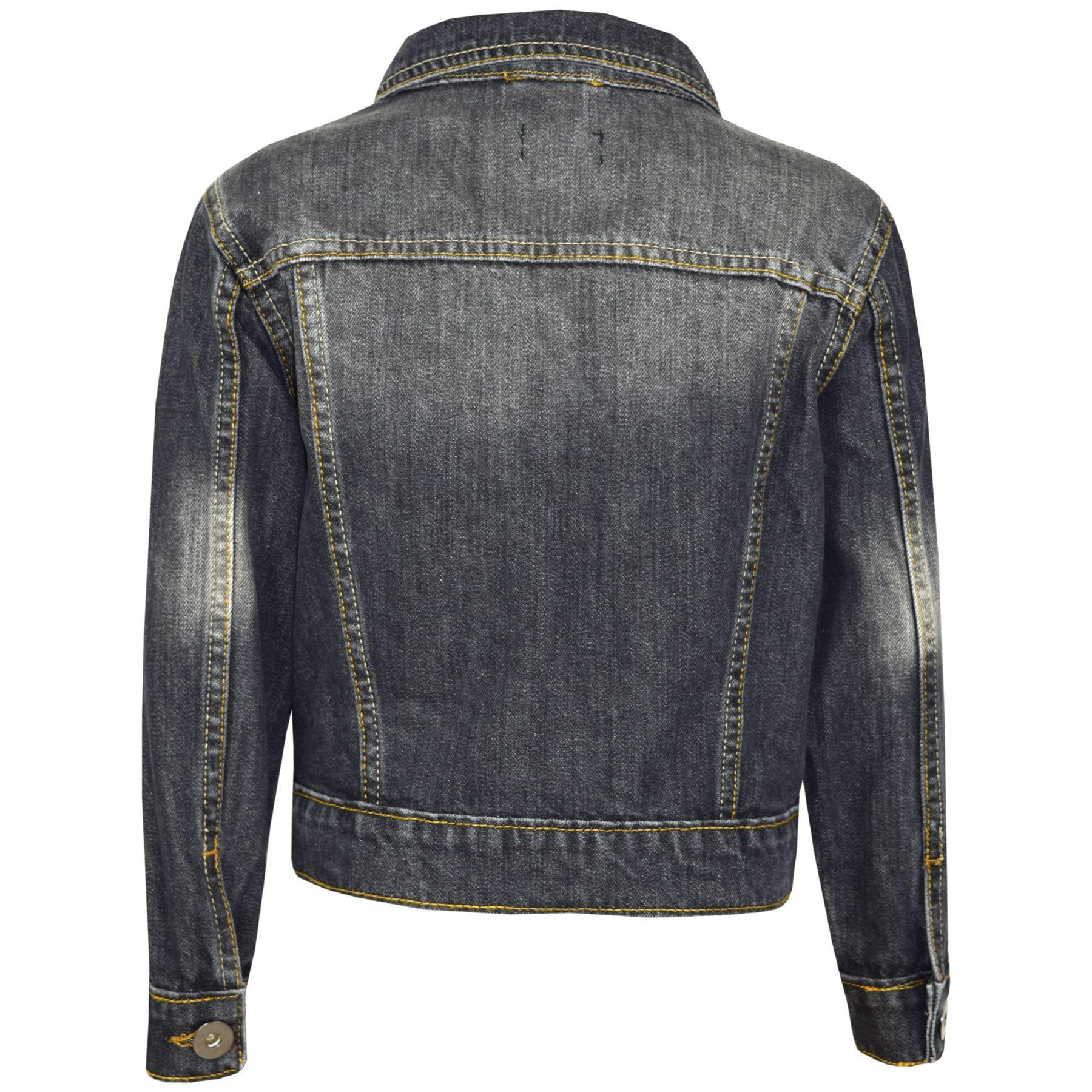 Kids Girls Jackets Designer Denim Style Fashion Black Jeans Jacket Coats 3-13 Yr