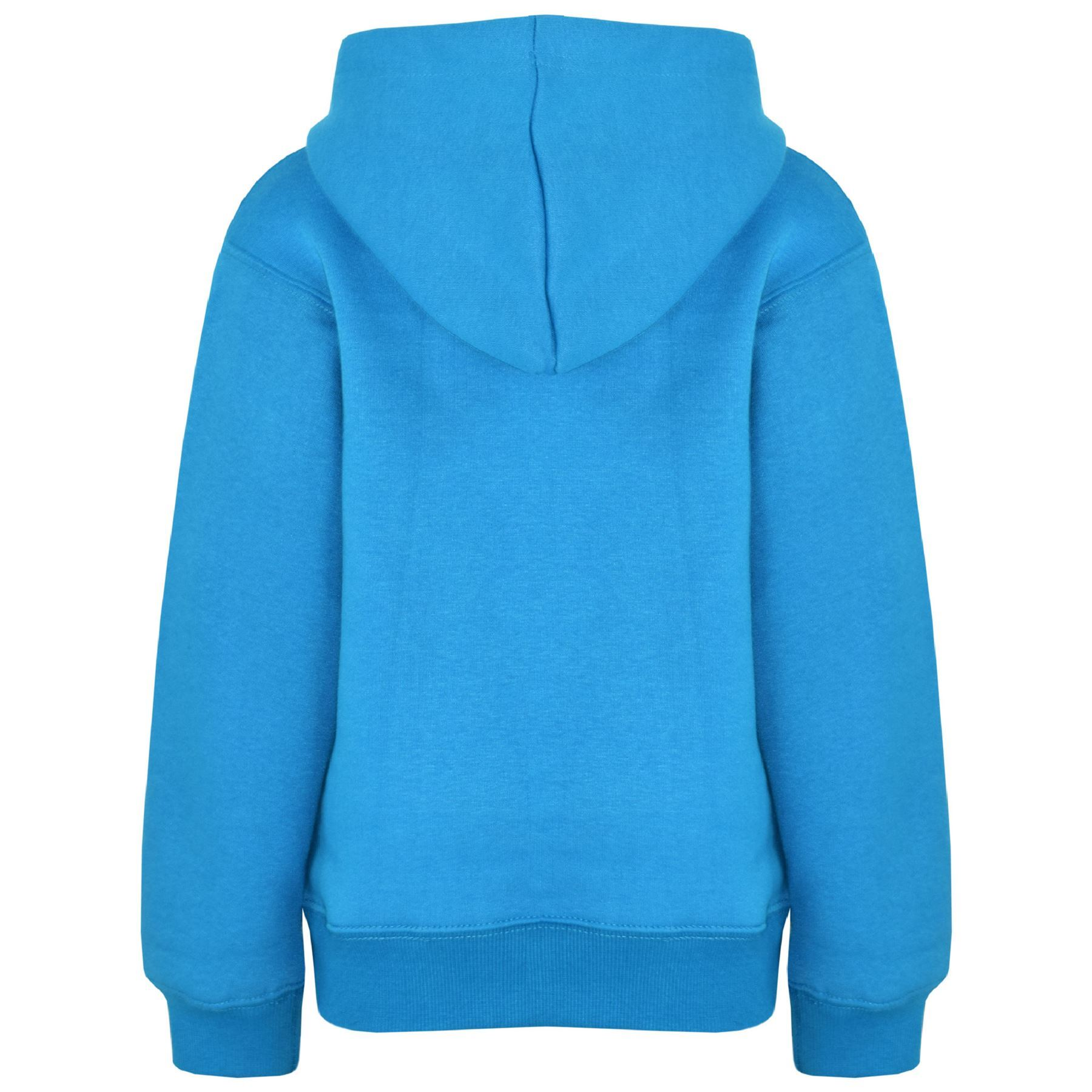 Kids Girls Boys Sweat Shirt Tops Plain Blue Hooded Jumpers Hoodies Age 2-13 Year