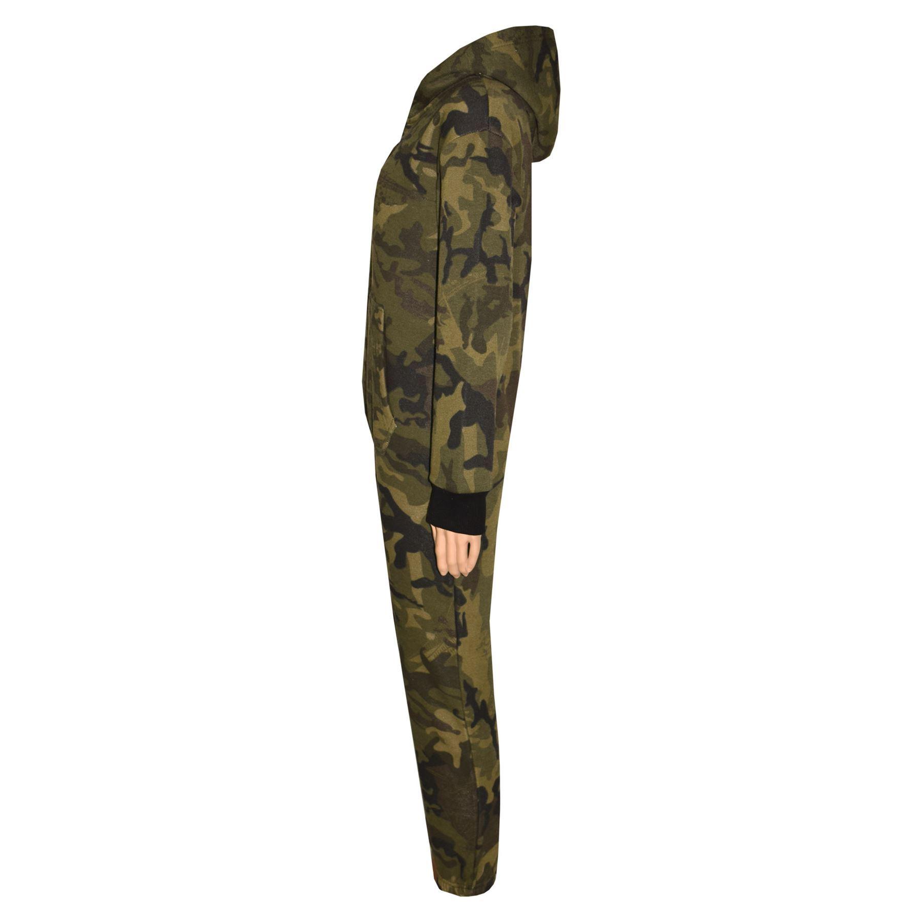 Kids Girls Boys Fleece Camouflage Green A2Z Onesie One Piece All In One Jumpsuit