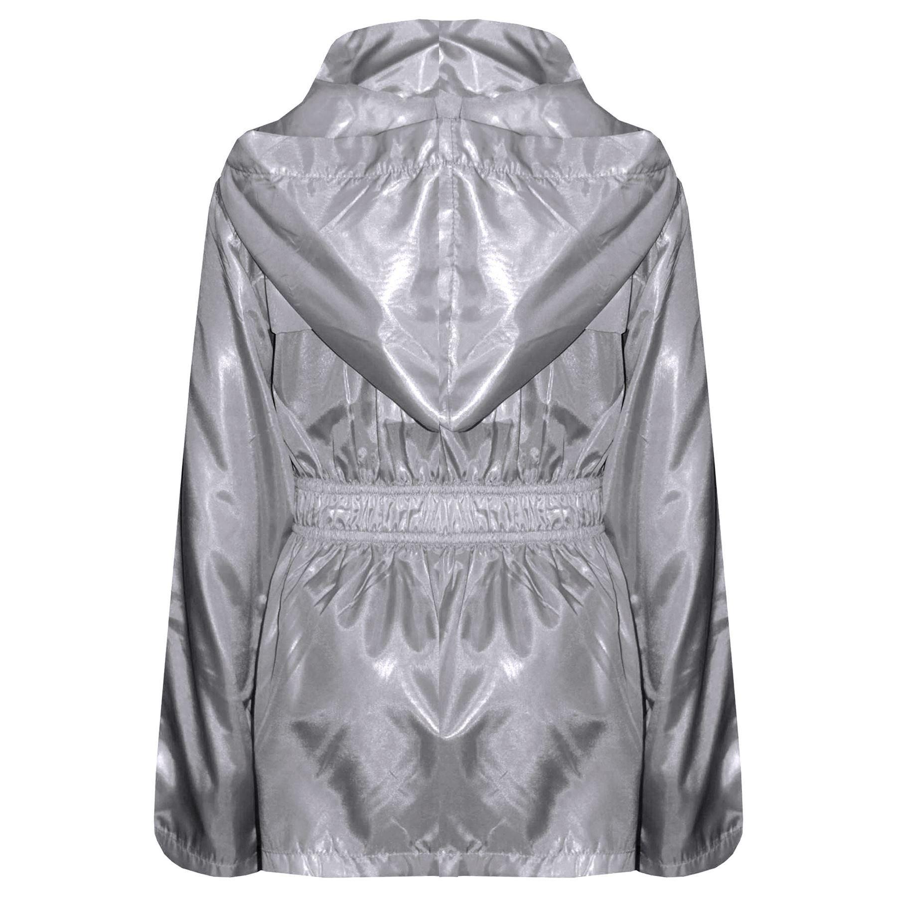 Kids Girls Boys Raincoats Jackets Grey Lightweight Hooded Cagoule Rain Mac 5-13Y