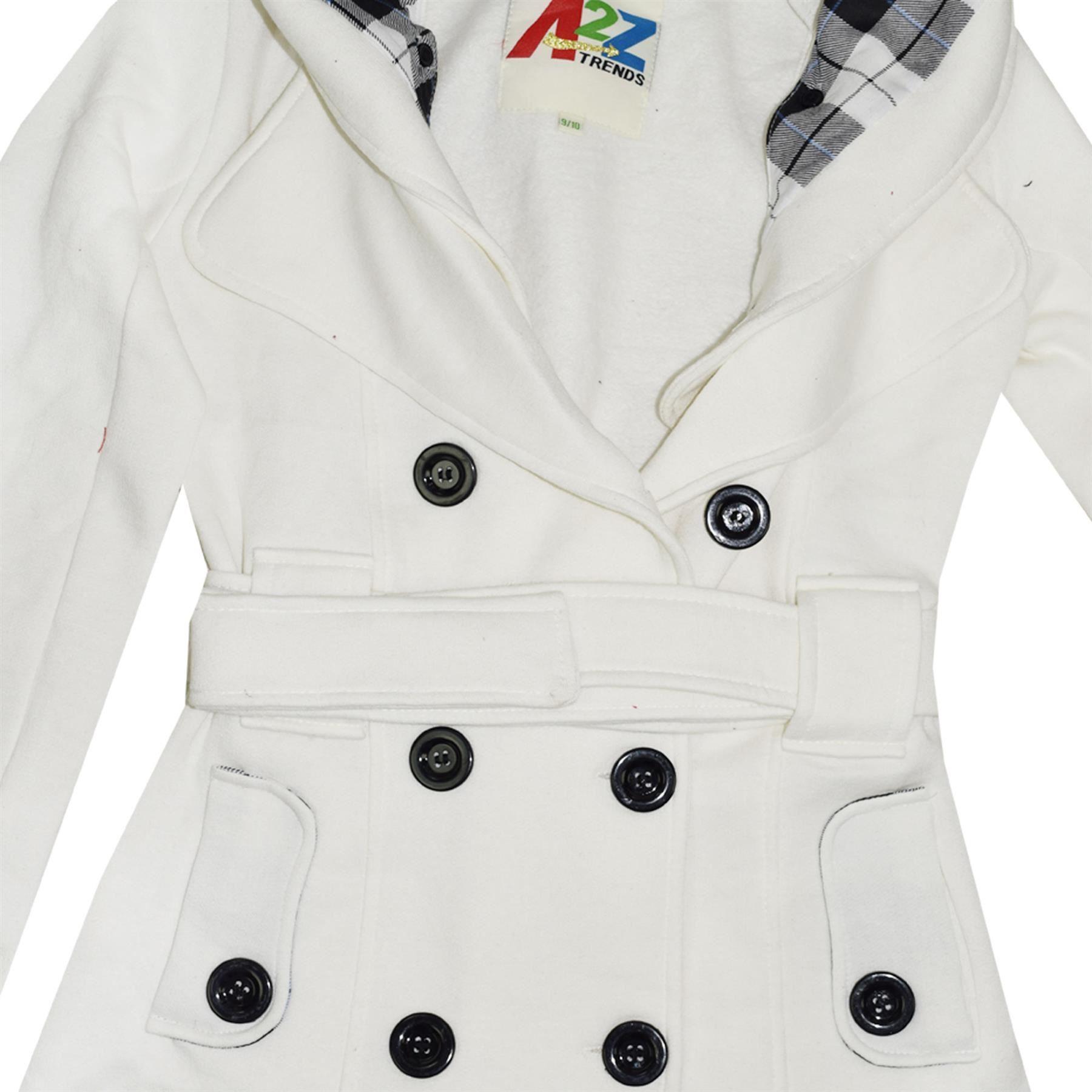 Niños Niñas abrigos con capucha Trinchera Abrigos chaquetas Largo Parka Acolchada Solapas Crema