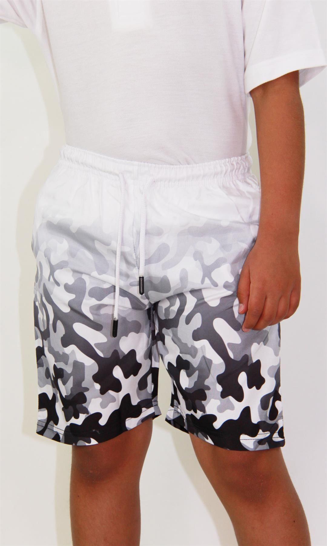Enfants Garçons Filles Short deux tons Camouflage Gris Été Chino Longueur Genou Pantalon