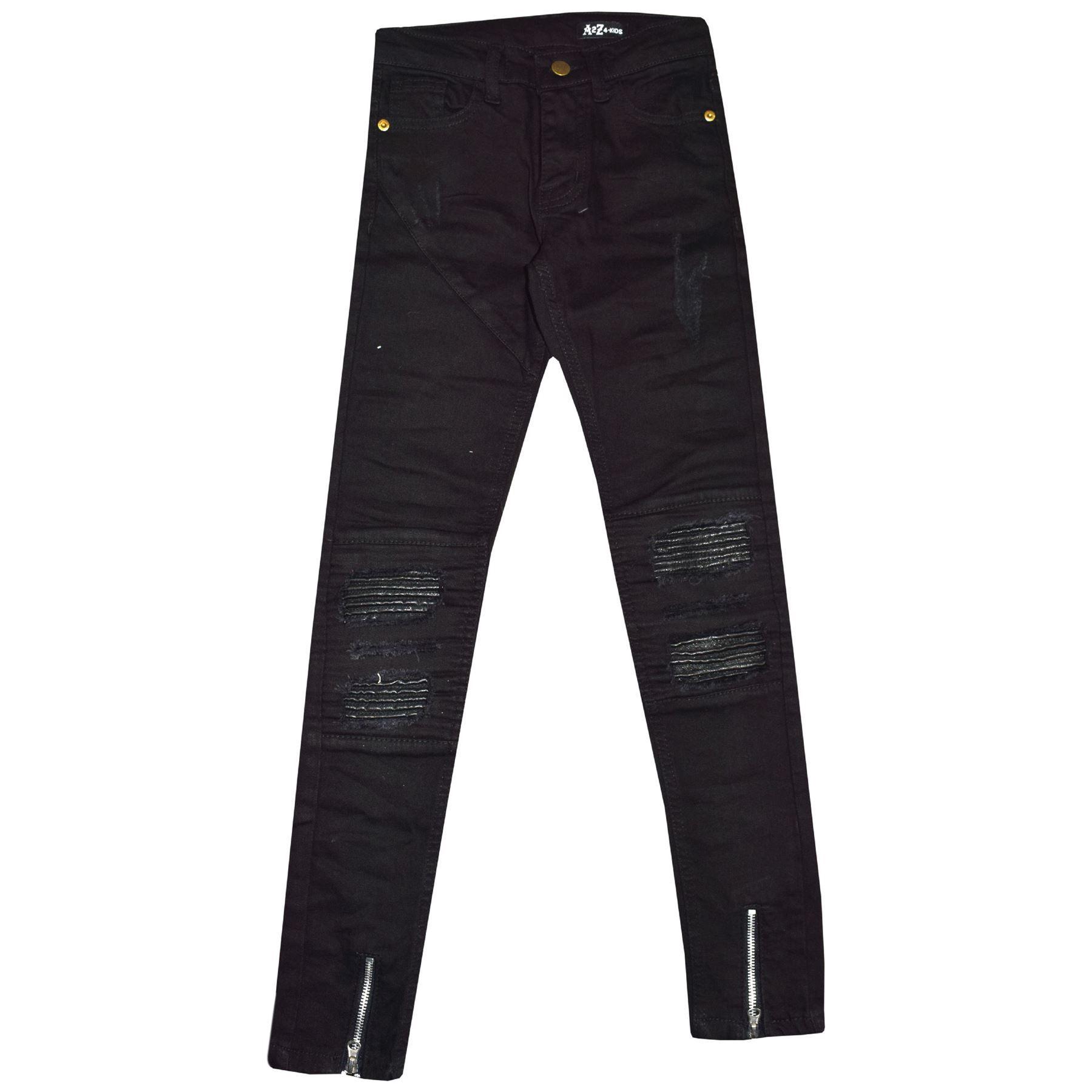 Kids Girls Stretchy Jeans Jet Black Ripped Drape Panel Denim Pants Trouser 5-13Y