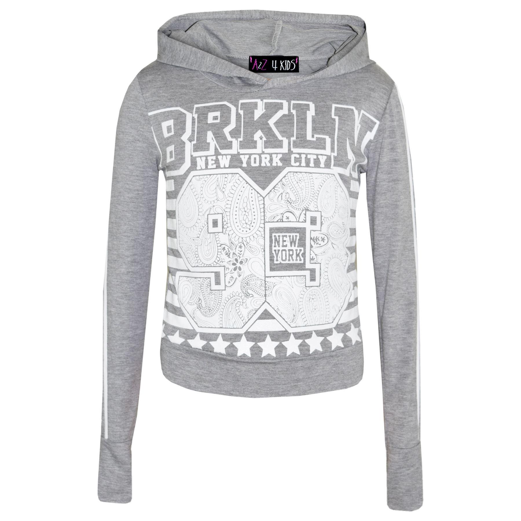 Bambine Brooklyn 93 Con Cappuccio Crop Top T Shirt Legging Lounge Wear Set di 7-13 anni