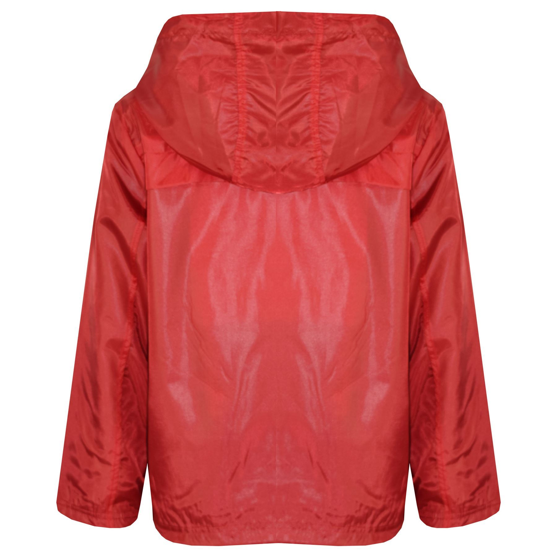 Kids Girls Boys Red Hooded Raincoats Cagoule Lightweight Jacket Rain Mac 5-13 Yr