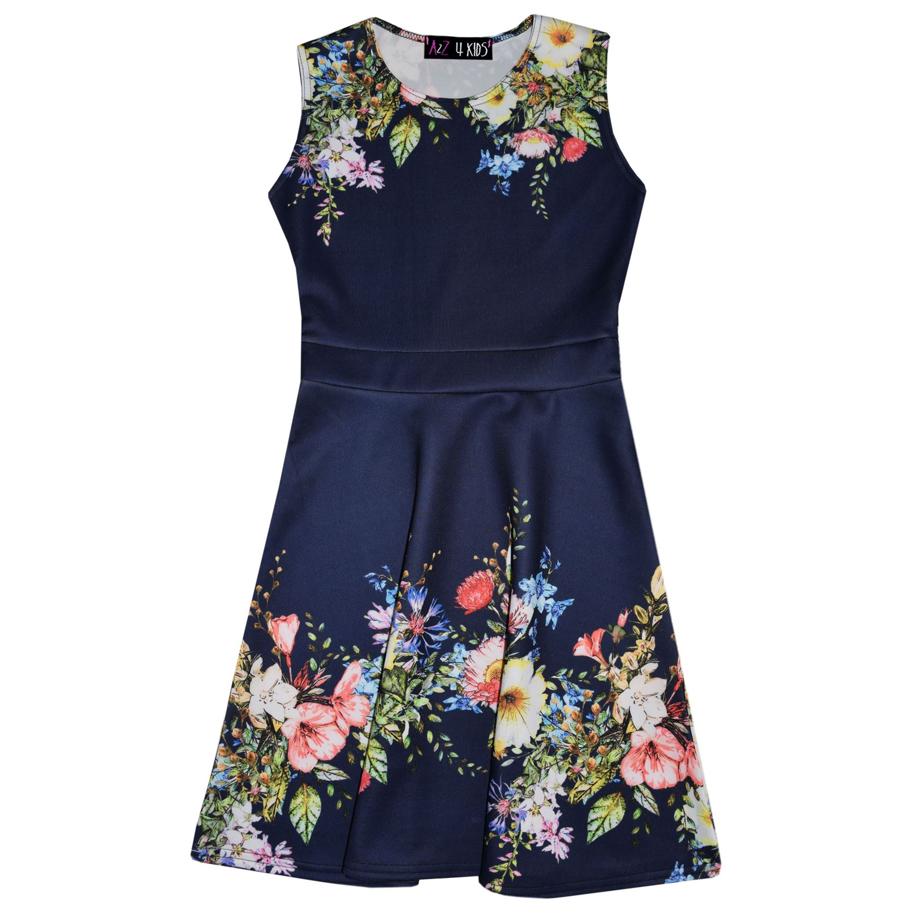 Kids Girls Skater Dress Floral Navy Summer Party Fashion Dresses New Age 2-8 Yr