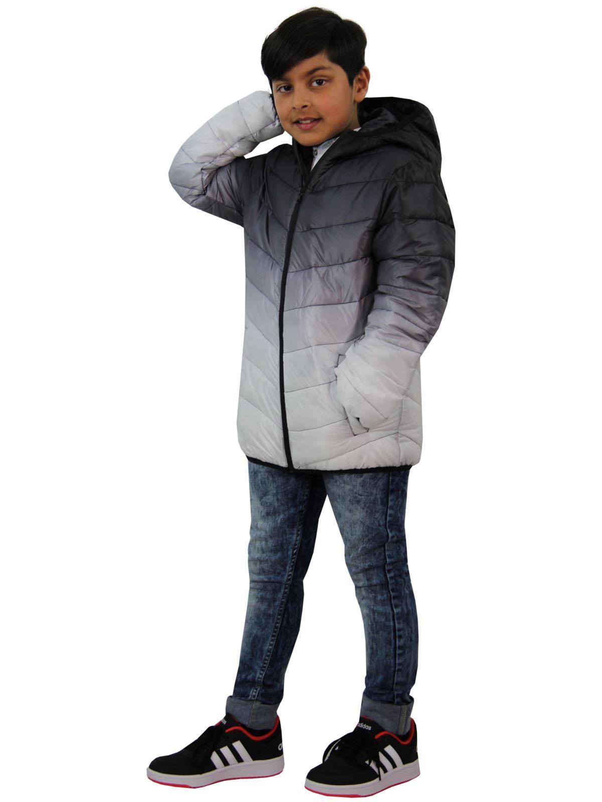 Enfants Garçons Veste à Capuche Noir 3D deux tons Faded Noël Cadeau Festif chaud manteau