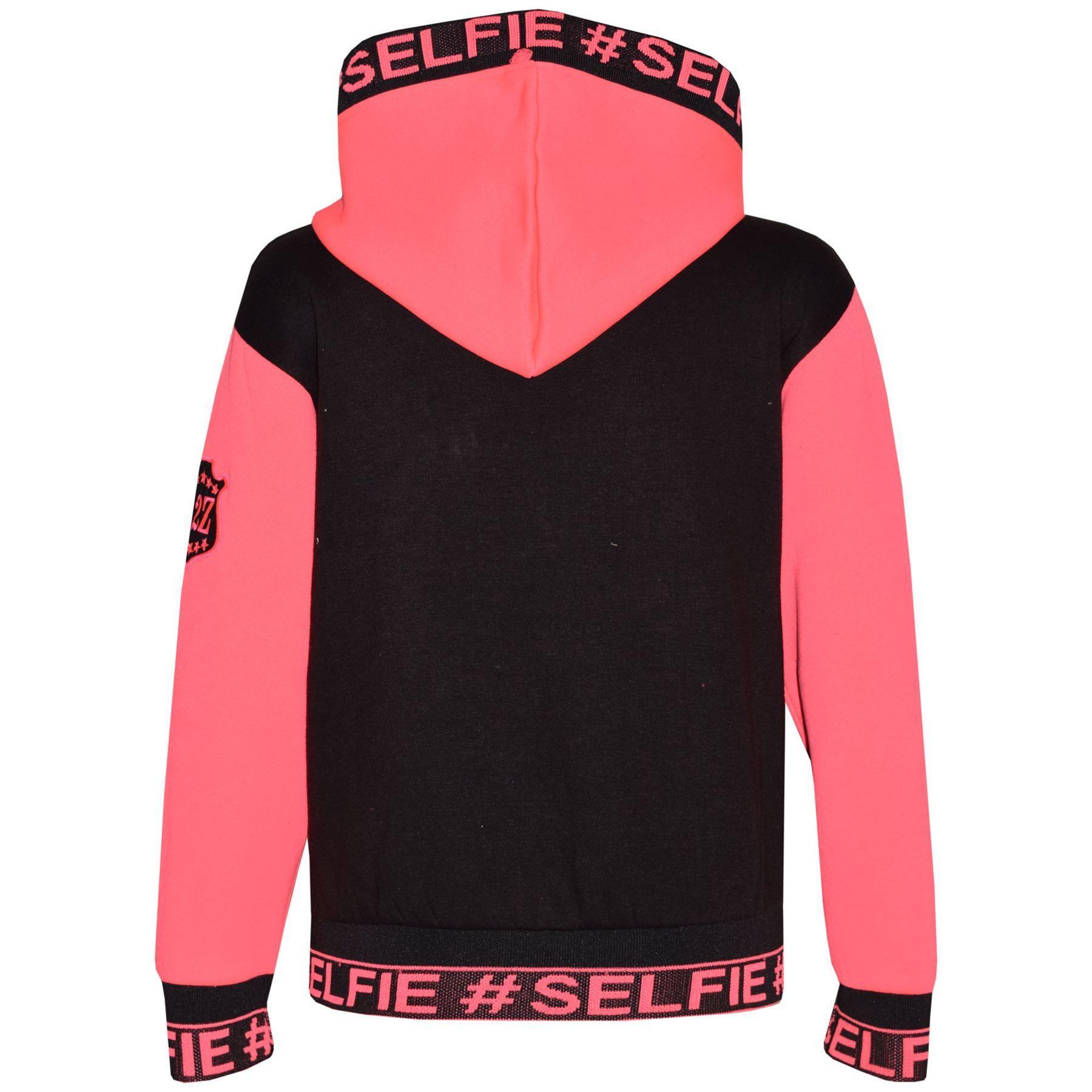 Enfants Filles Veste #Selfie brodé ROSE fluo Zippé Haut à Capuche Sweat à capuche 5-13 An