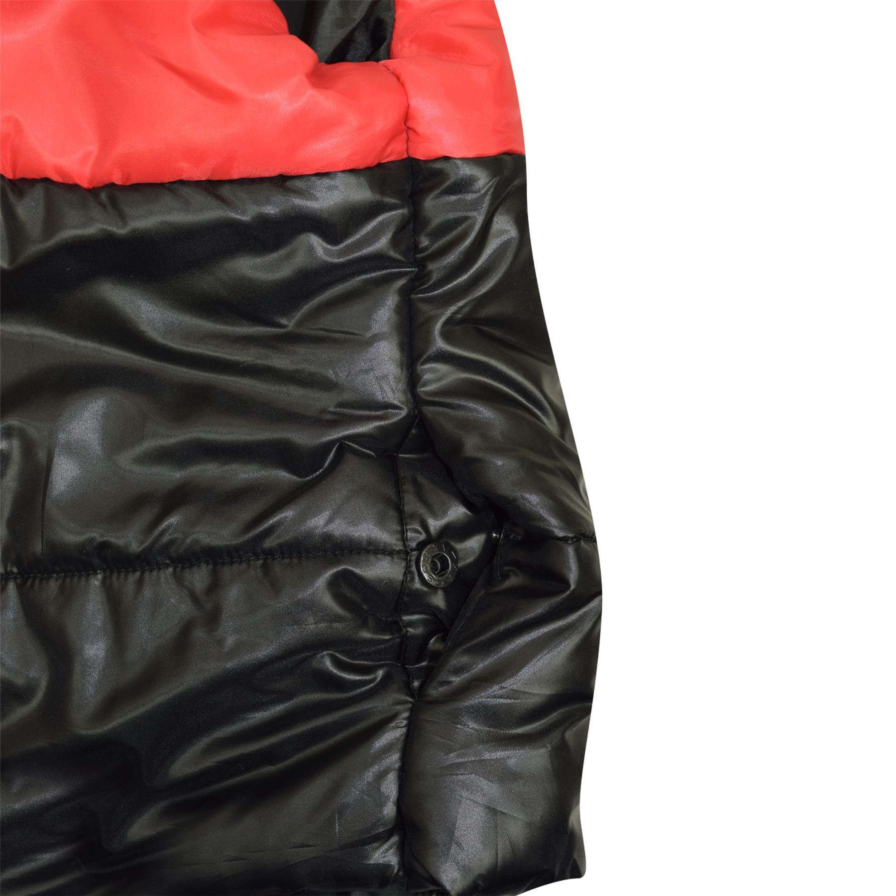 Bambini Ragazzi Ragazze Pannello Di Contrasto Gilet in tessuto Nero Senza Maniche Con Cappuccio Gilet Imbottito Giacche