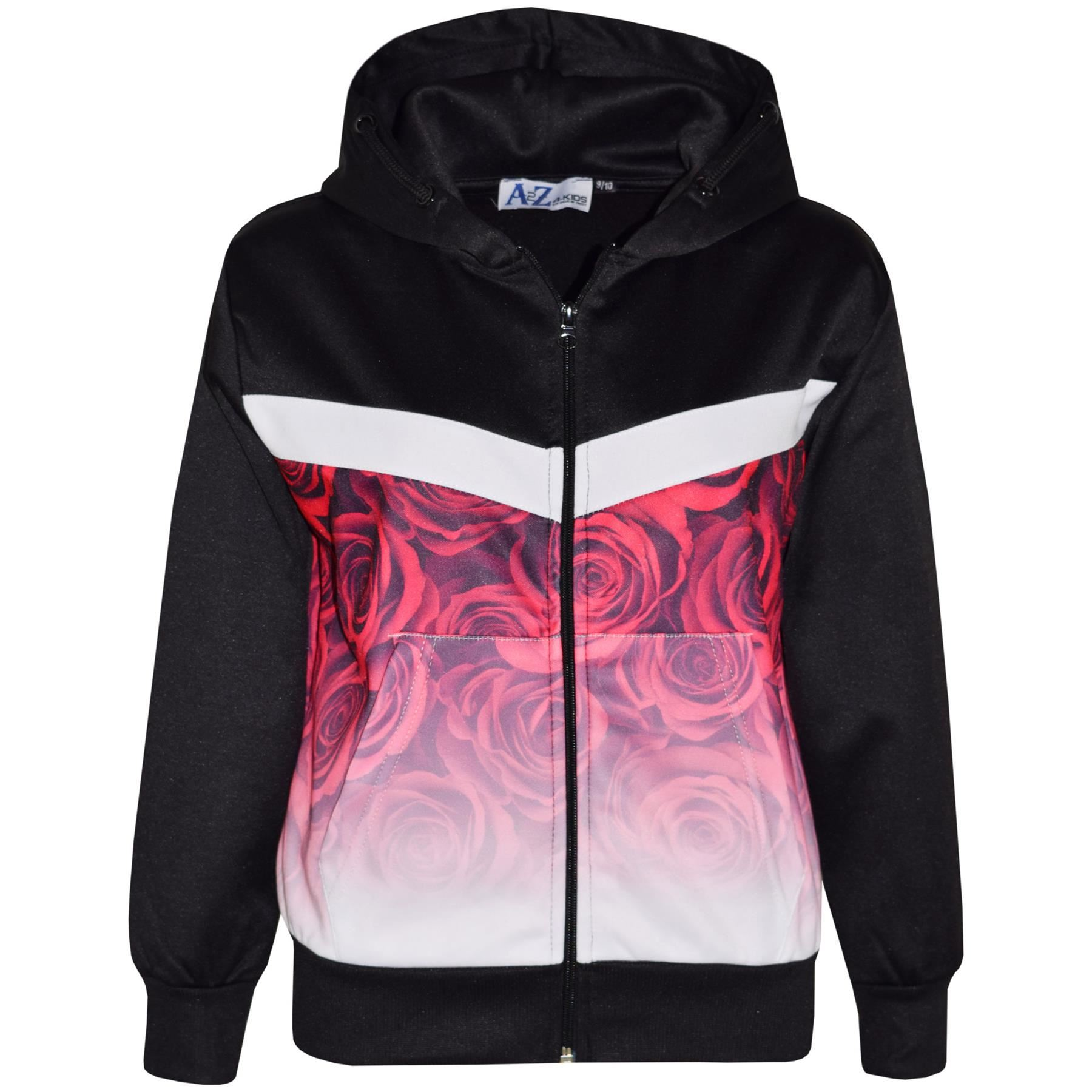 Kids Boys Girls Tracksuit 3D Red Roses Fade Two Tone Hooded Top Bottom Jog Suits