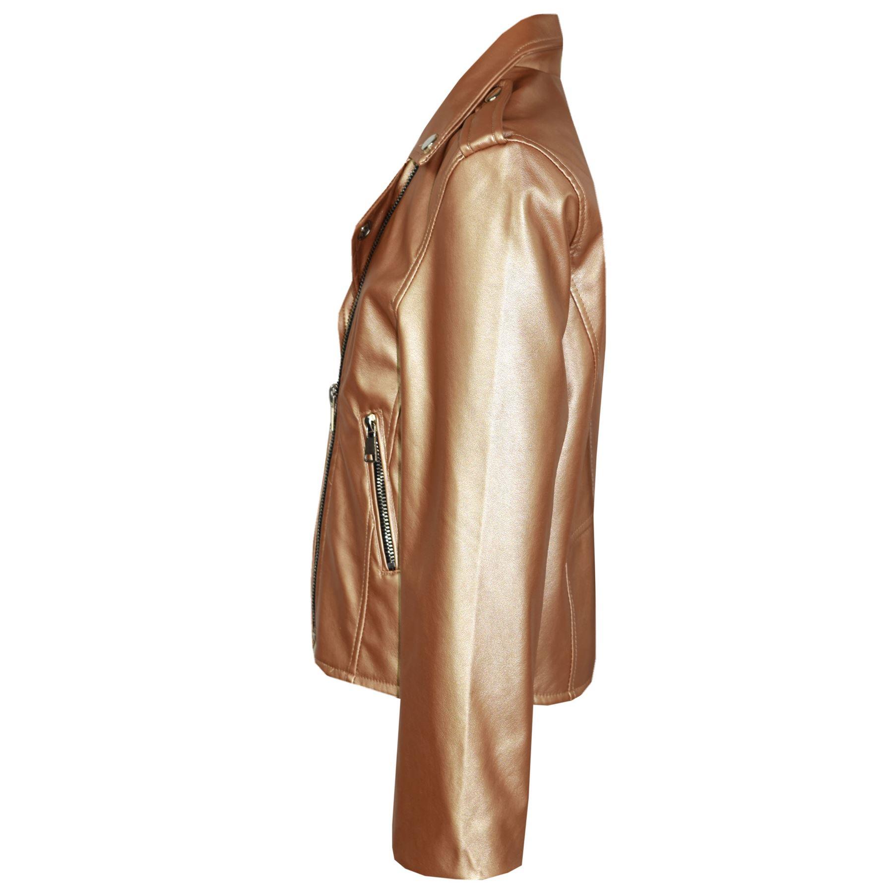 Kids Jacket Girls Designer/'s PU Leather Jackets Zip Up Biker Coats 7-13 Year