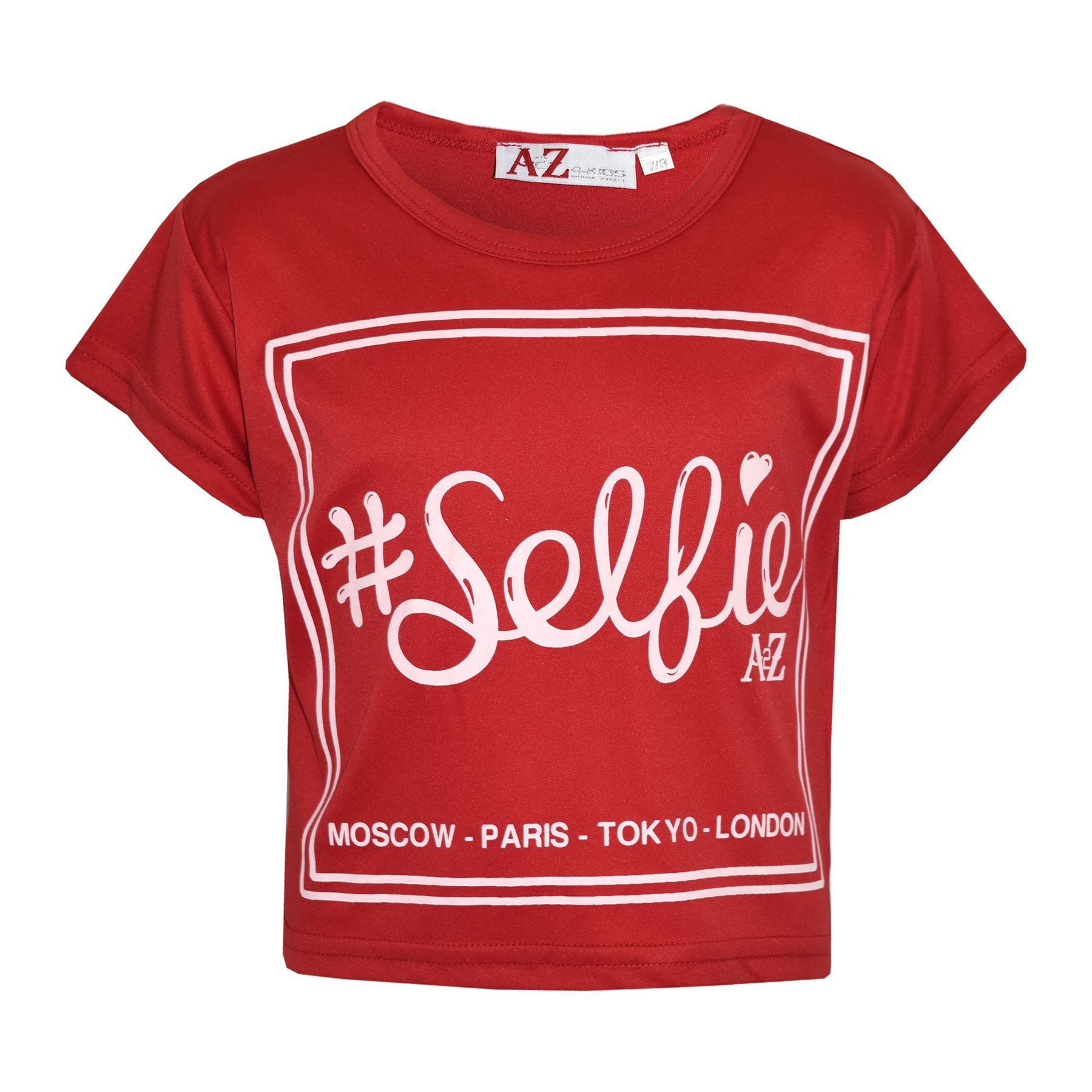 Kids Girls Top #Selfie Print Stylish Crop Top /& Skater Skirt Sets Age 5-13 Years