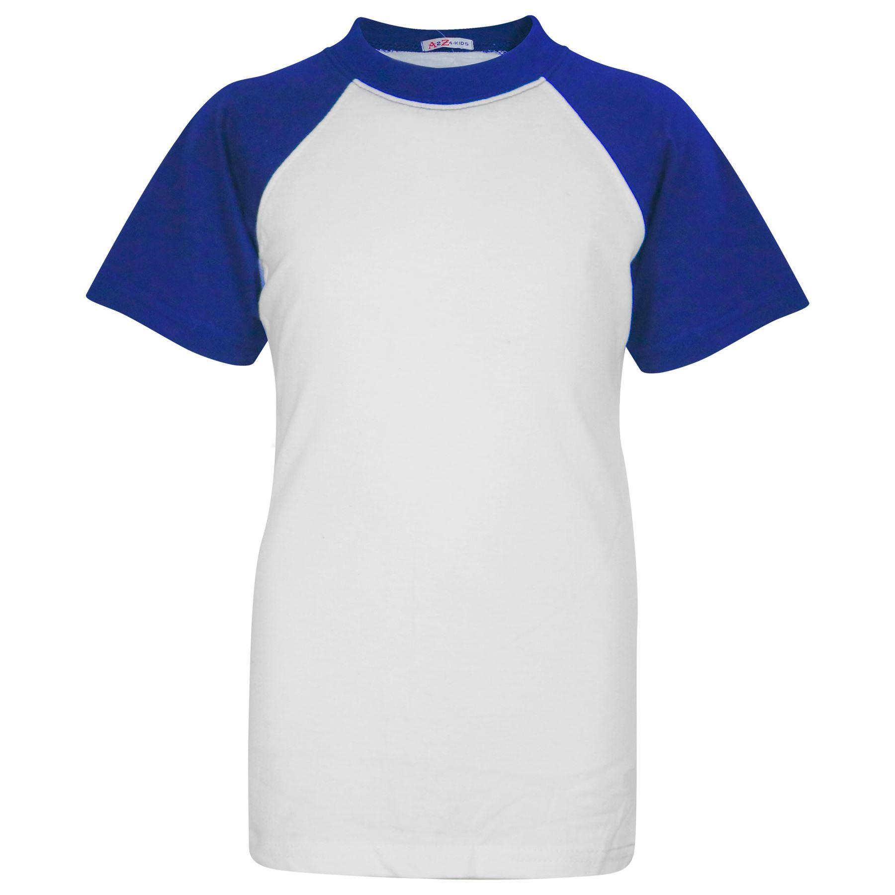 Enfants Garçons Filles T Shirt Plain Baseball court manches raglan Sports T-shirt 2-13Y