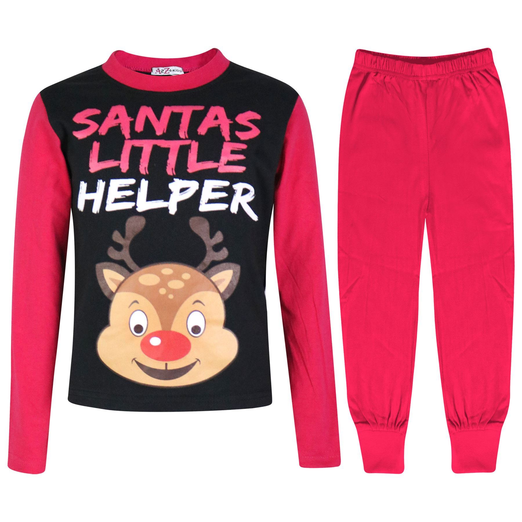 Bambine Pigiama Renna Rudolph Piccolo Aiutante di Babbo Natale Renna Rosa Natale Pjs