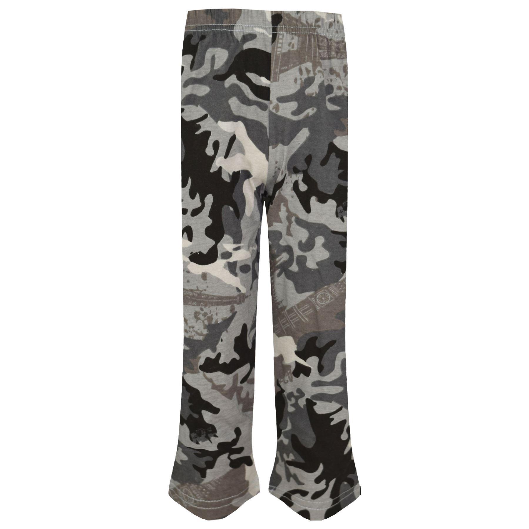 Kids Girls Boys Pyjamas Camouflage Charcoal Contrast Sleeves Nightwear PJS 2-13Y