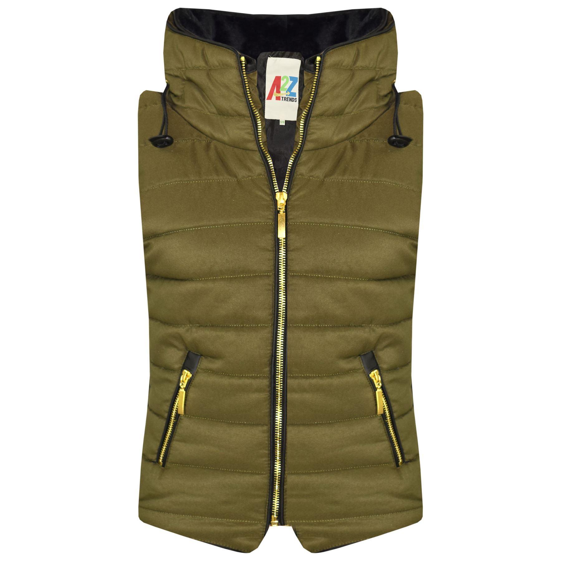 Kids Girls Boys Olive Puffer Bubble Sleeveless Hooded Gilets Body Warmer Jackets