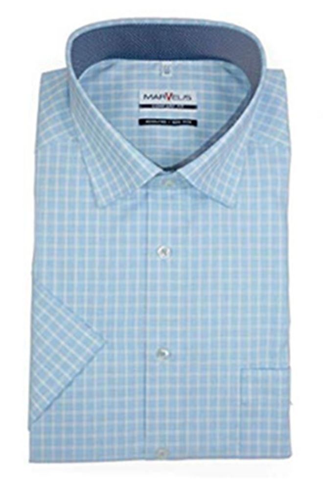 Mens Shirt Marvelis Regular Comfort Fit Non Iron 100/% Cotton Short Sleeve