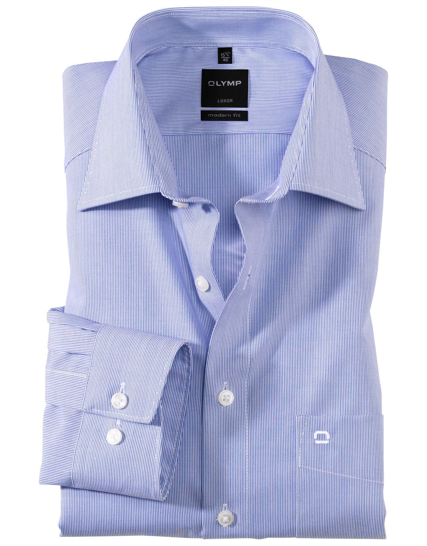 Camicia da Uomo Olymp Luxor moderno fit su misura senza ferro puro cotone manica lunga