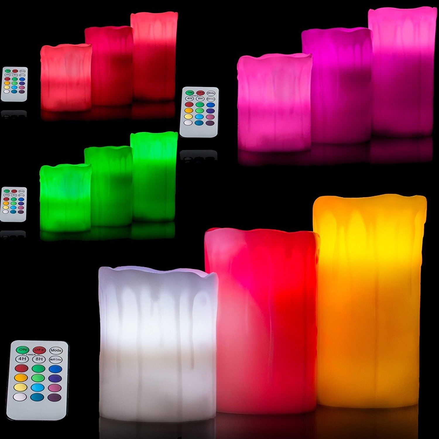 3 x Colour Changing Led Flameless Remote Control Wax Mood Candles Xmas Lighting